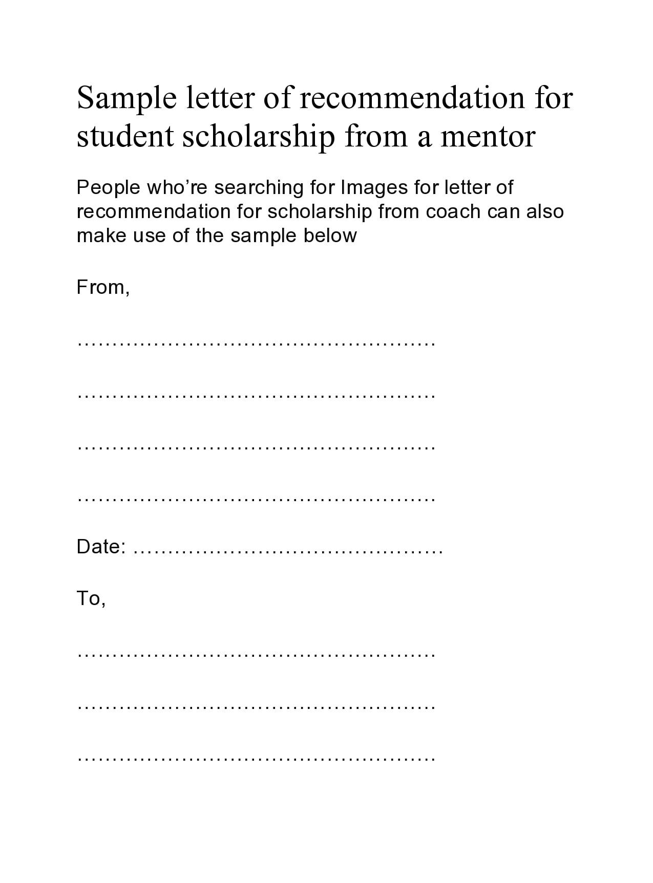 30 Recommendation Letter For Scholarship Samples ...