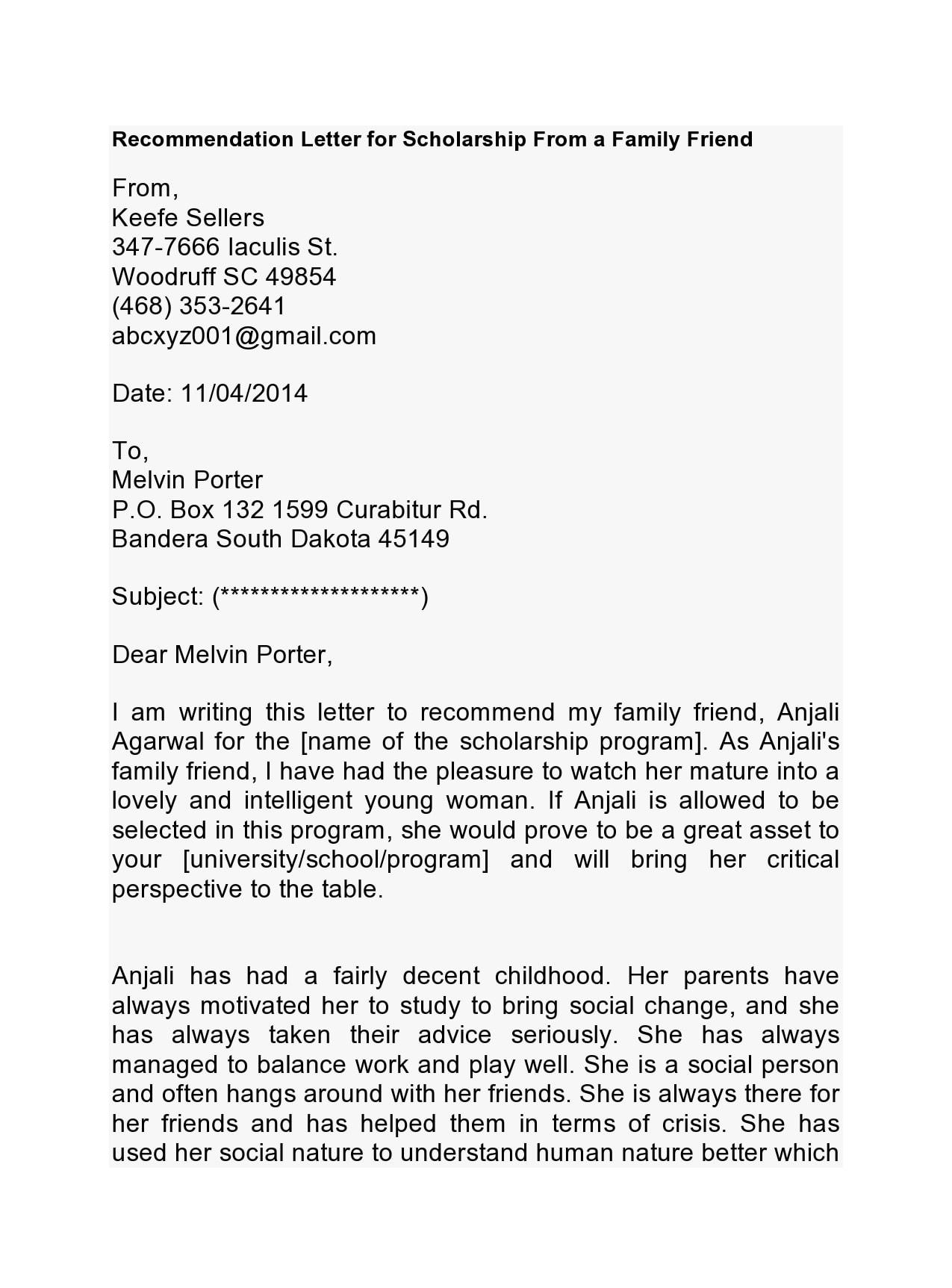 recommendation letter for scholarship 14