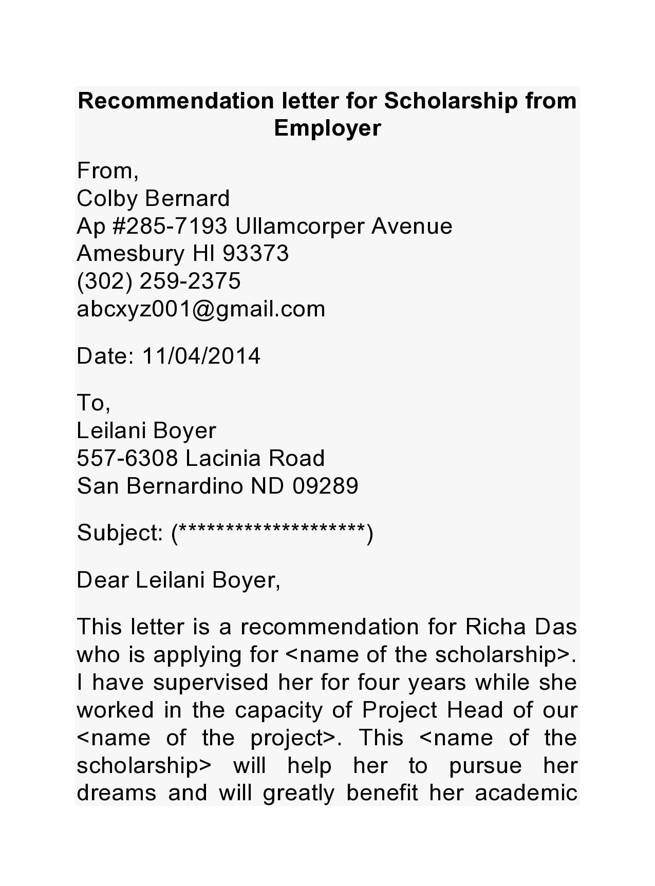 recommendation letter for scholarship 16