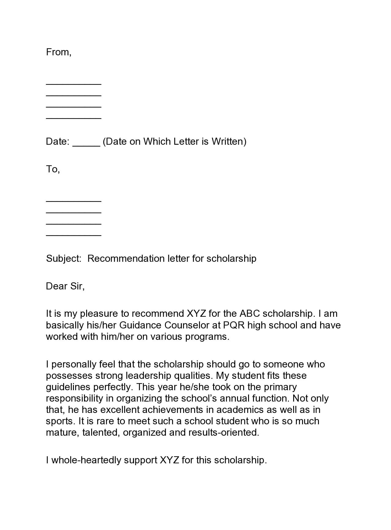 recommendation letter for scholarship 18