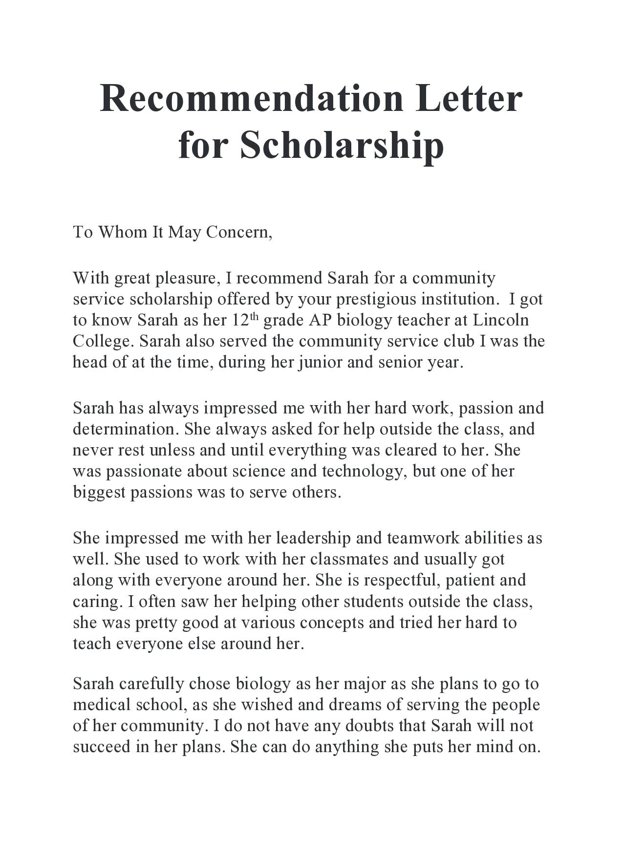 recommendation letter for scholarship 20