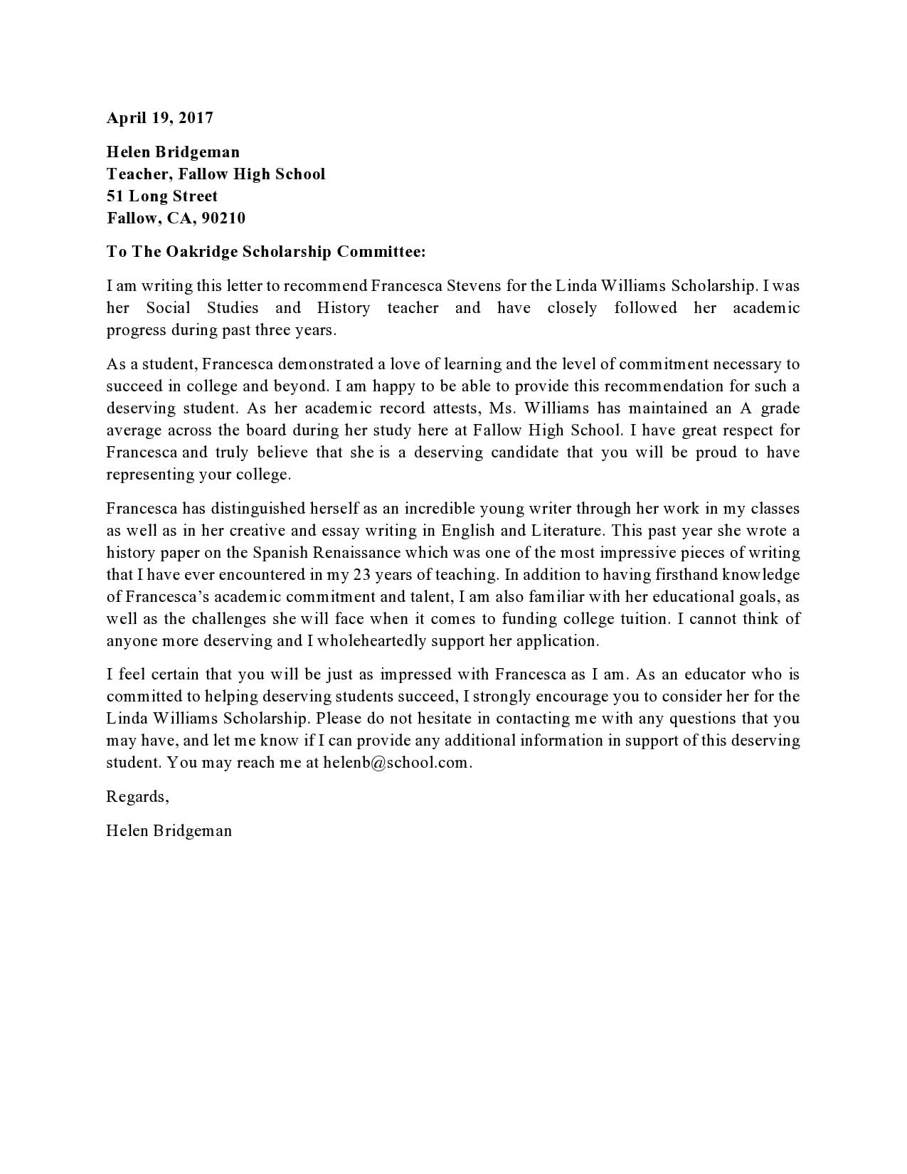 recommendation letter for scholarship 26