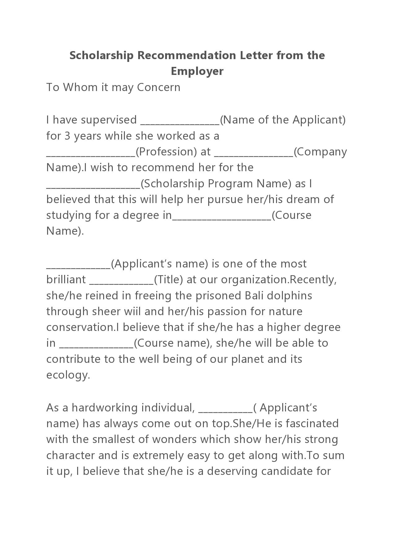 recommendation letter for scholarship 27