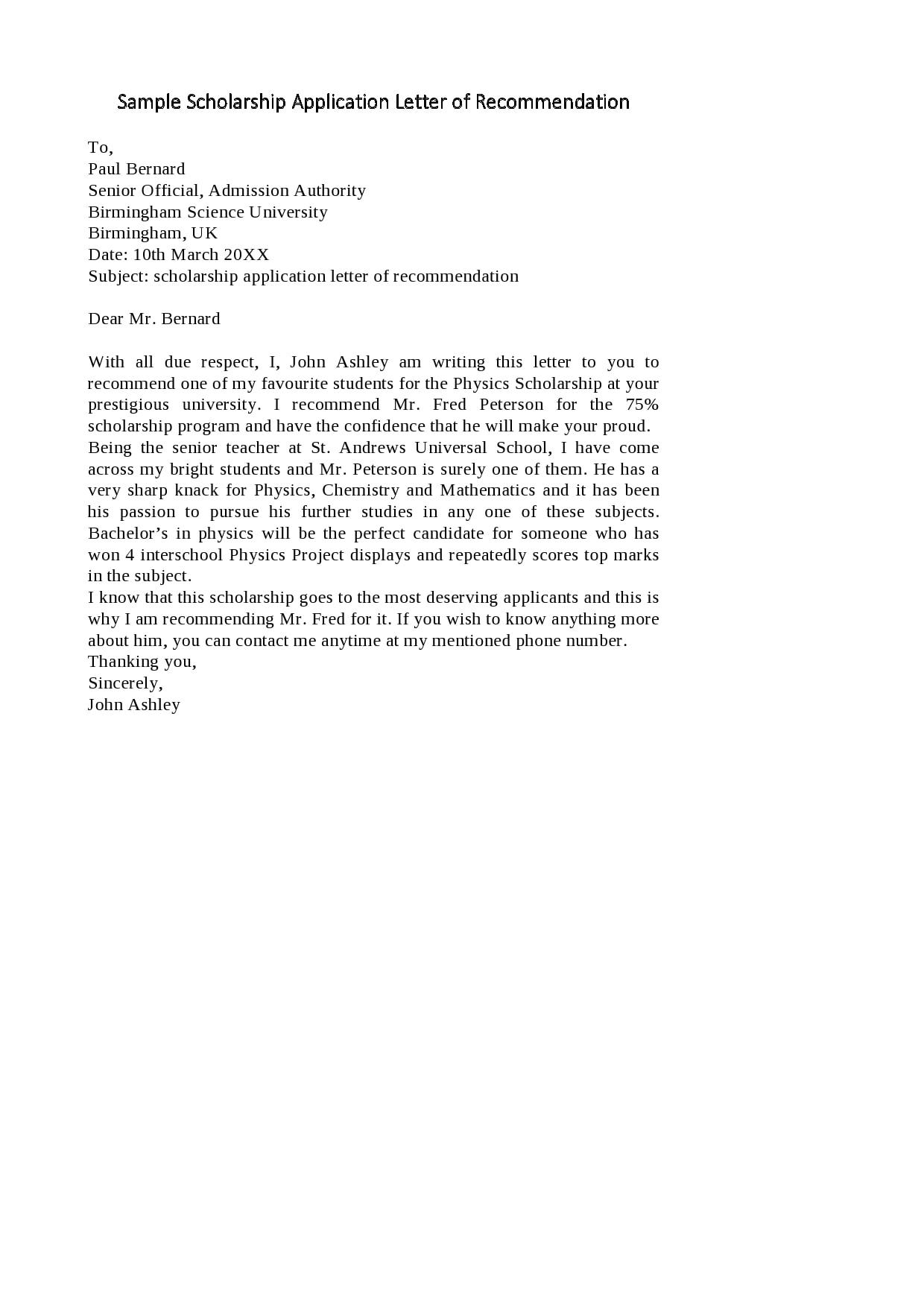30 Recommendation Letter For