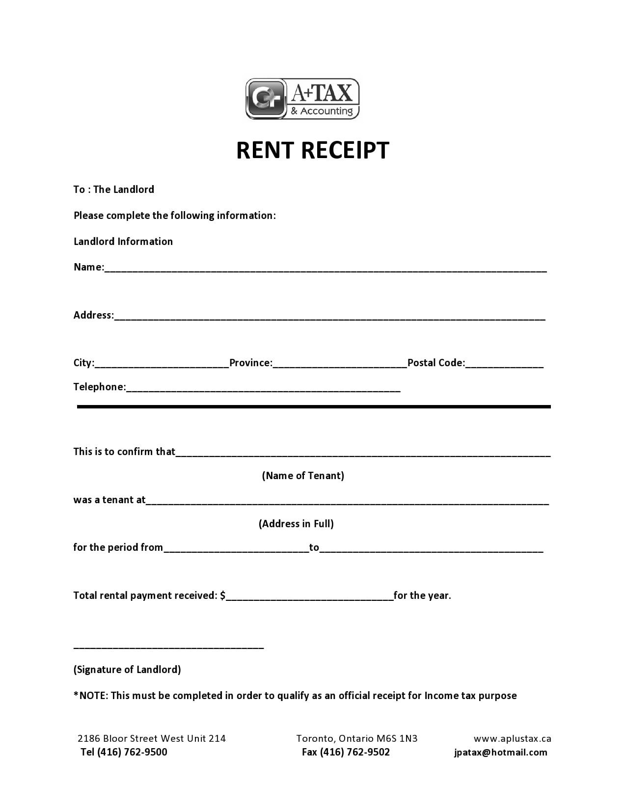 rent receipt 24