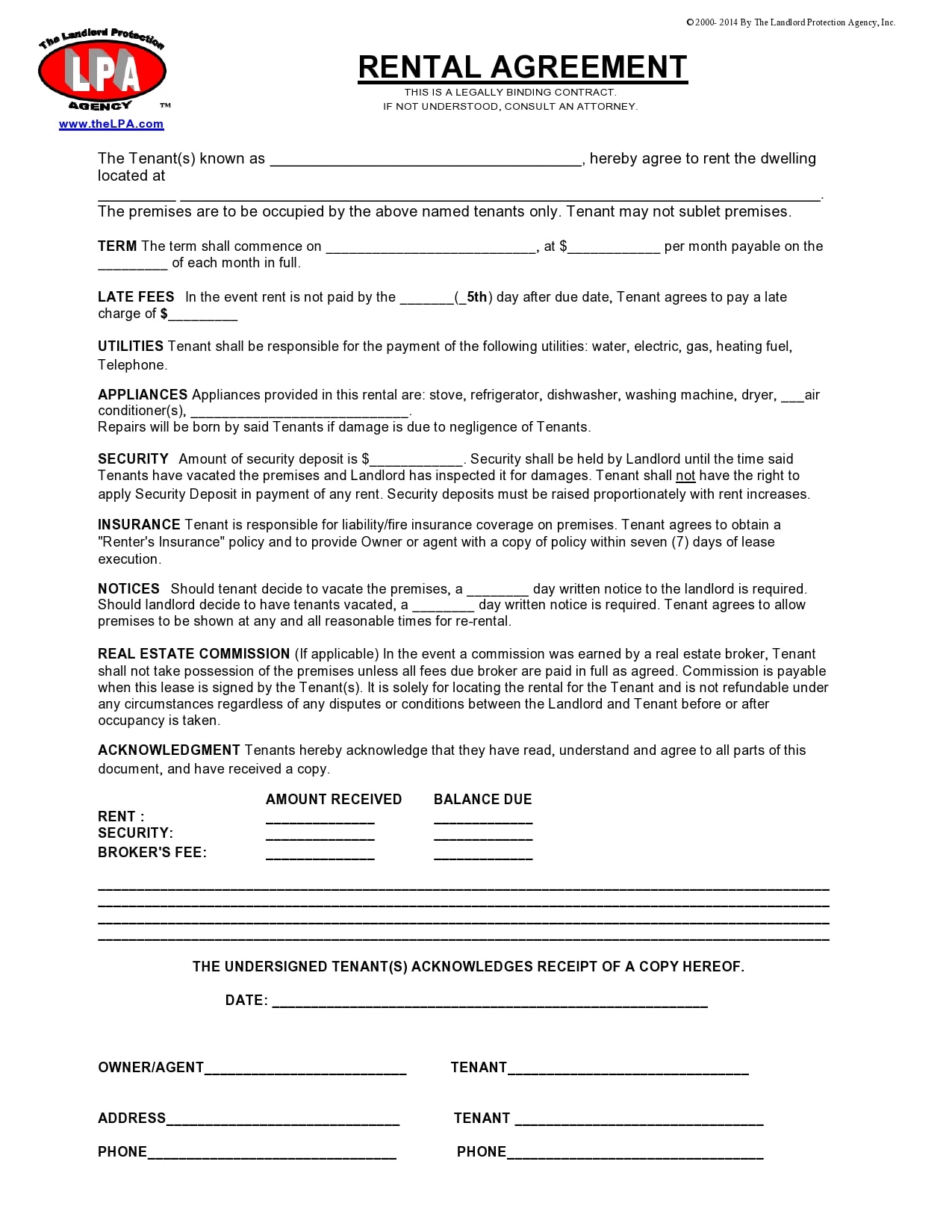 simple one page rental agreement 03
