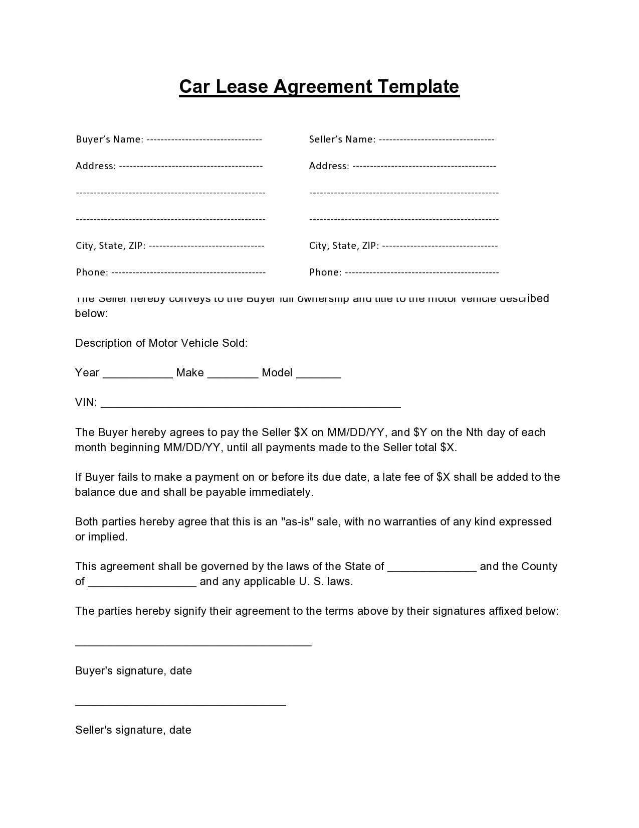 simple one page rental agreement 16
