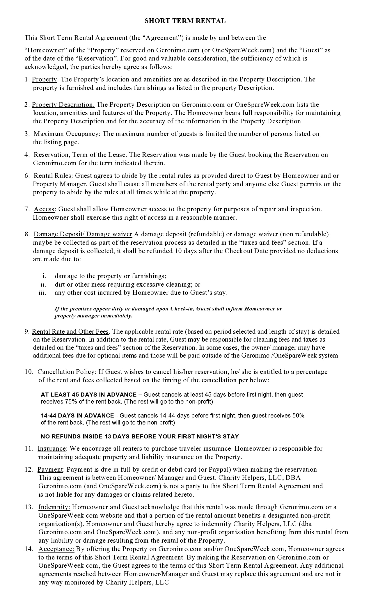 simple one page rental agreement 17