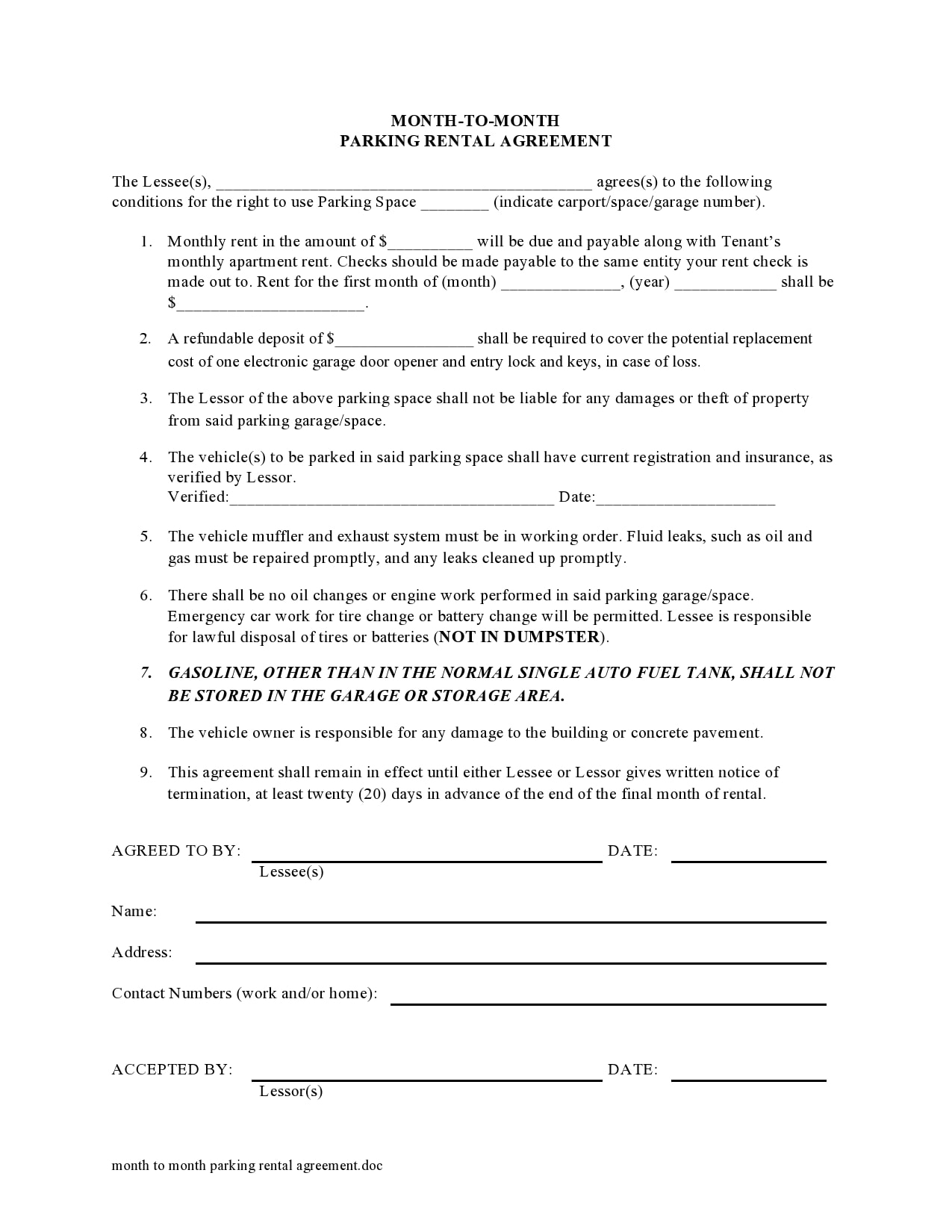 simple one page rental agreement 19