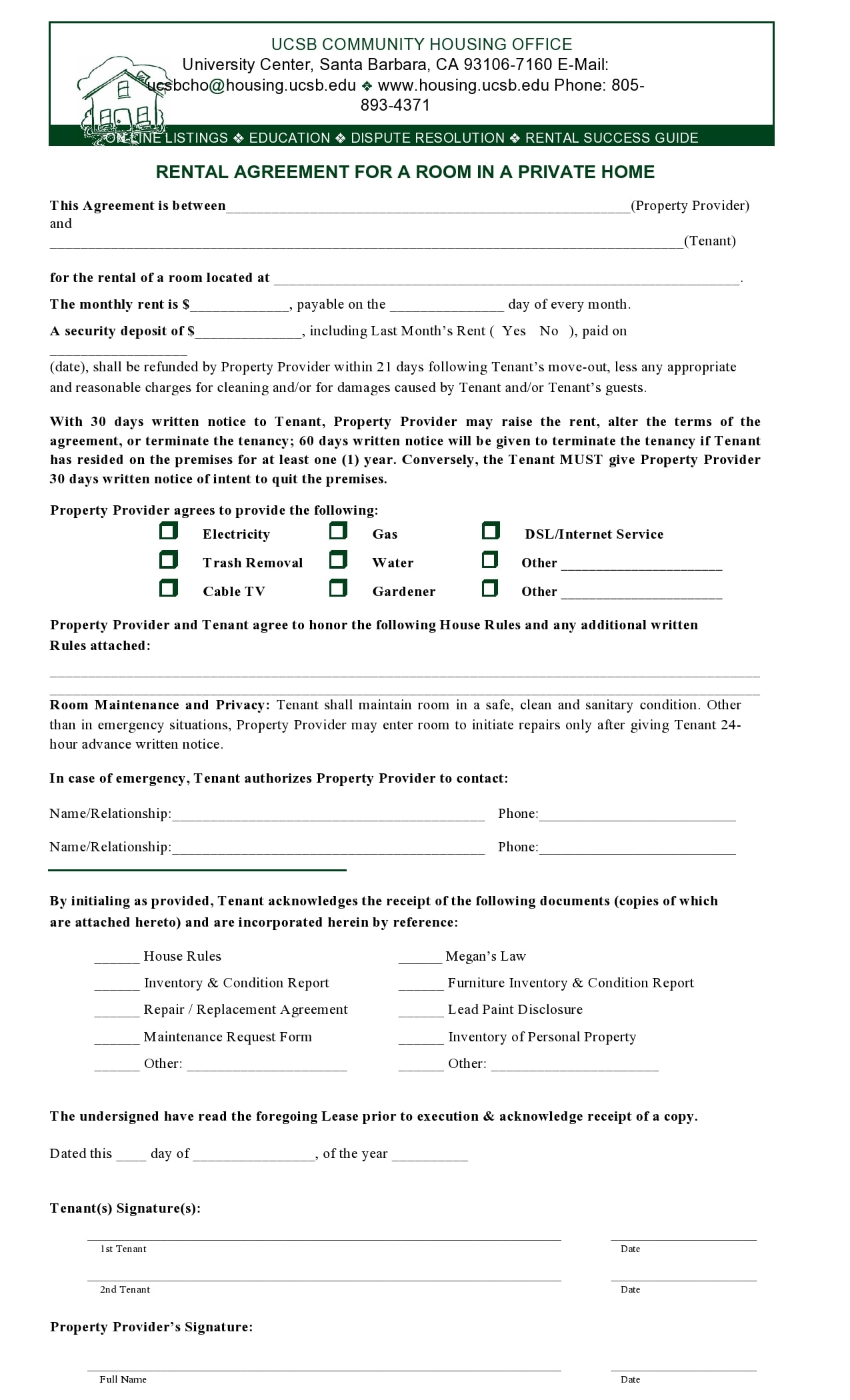 simple one page rental agreement 30