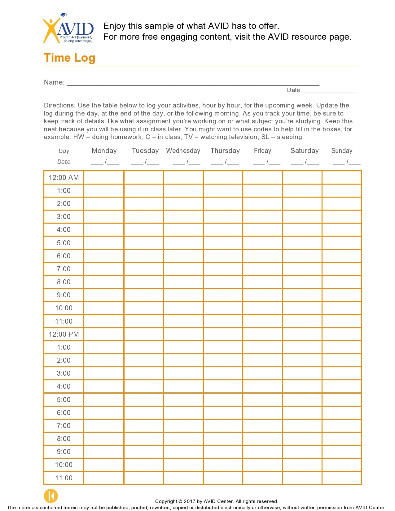 time log template 29