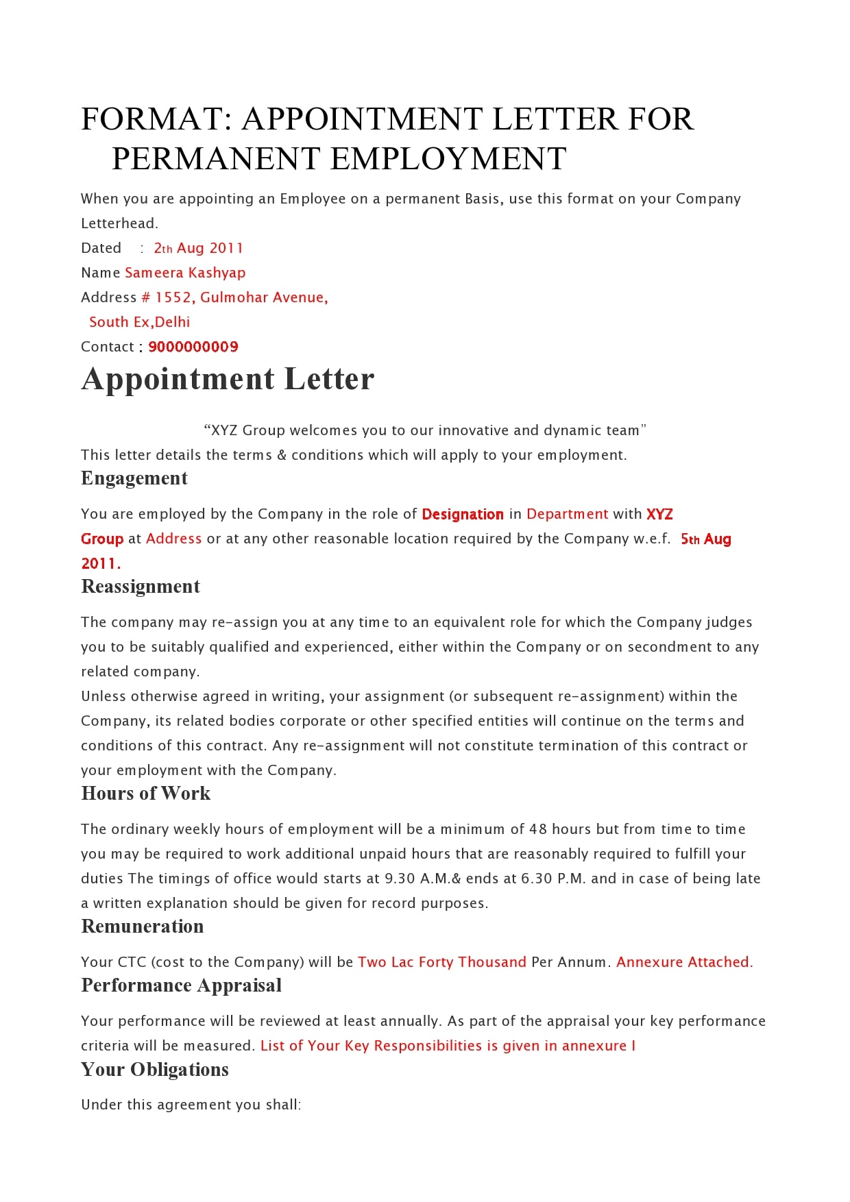 appointment letter 14