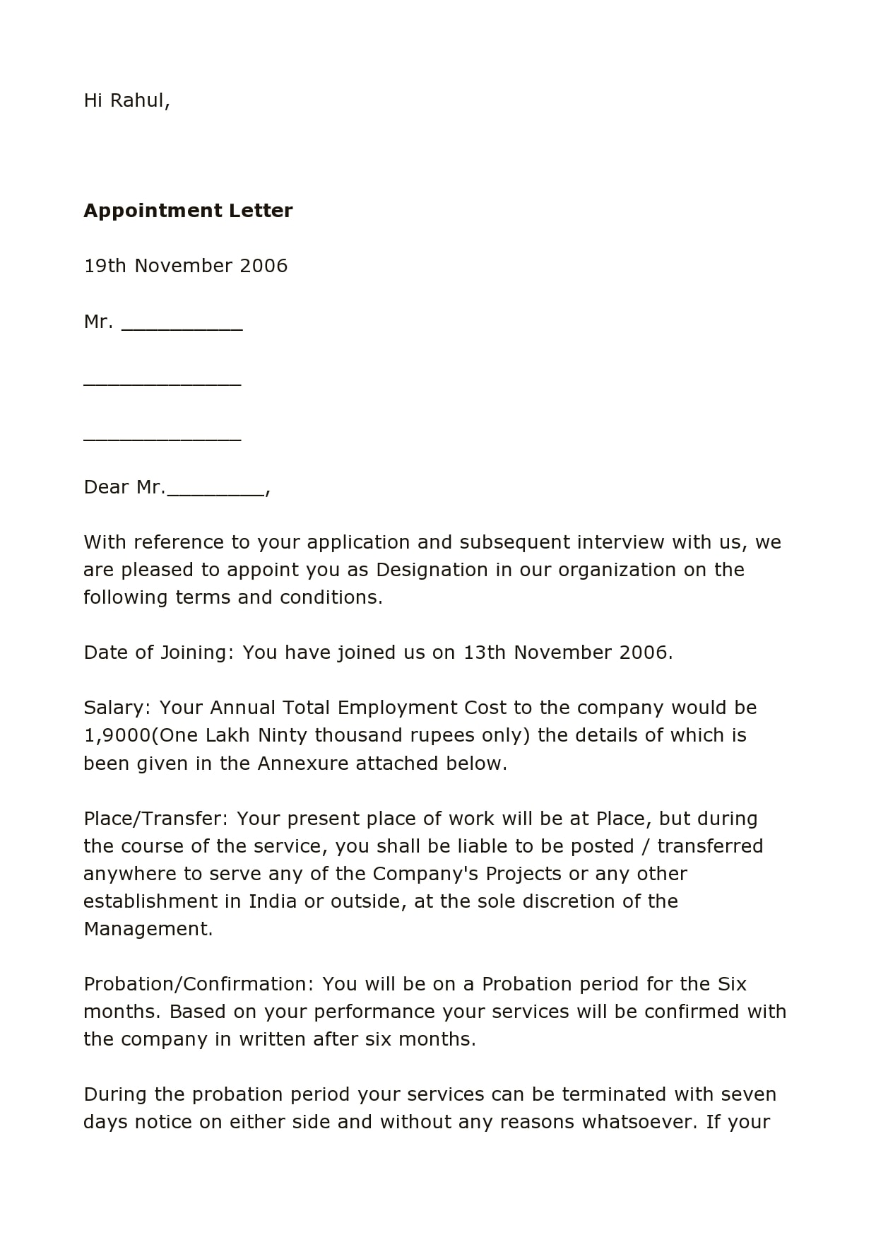 appointment letter 15