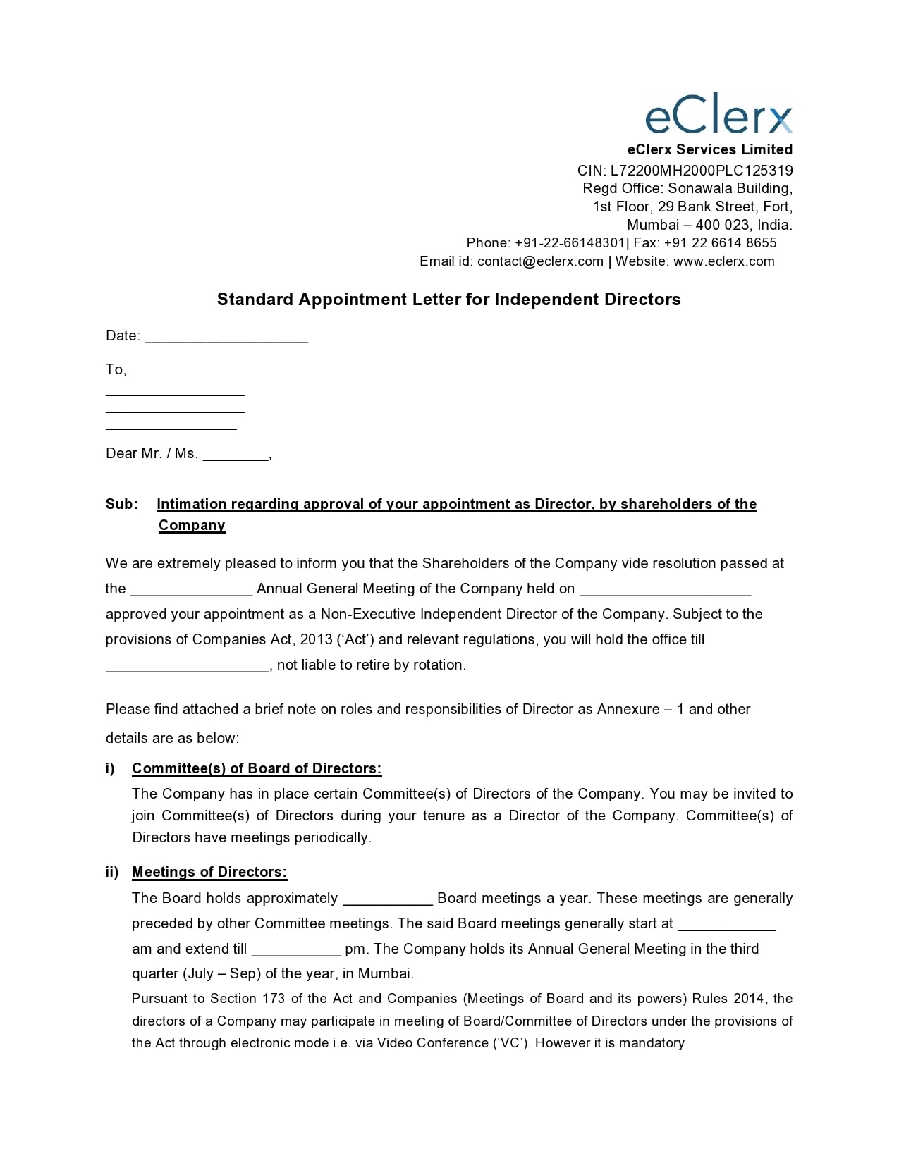 appointment letter 20