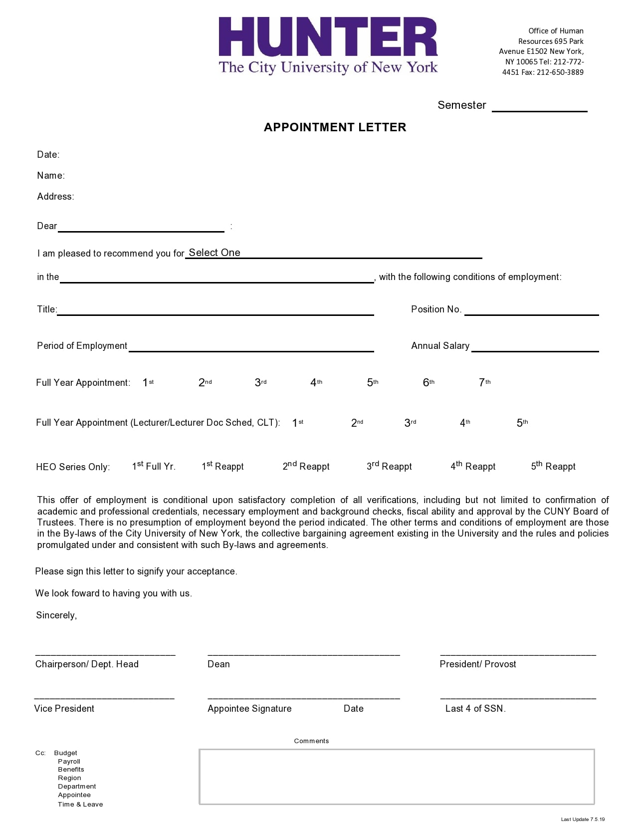 appointment letter 26