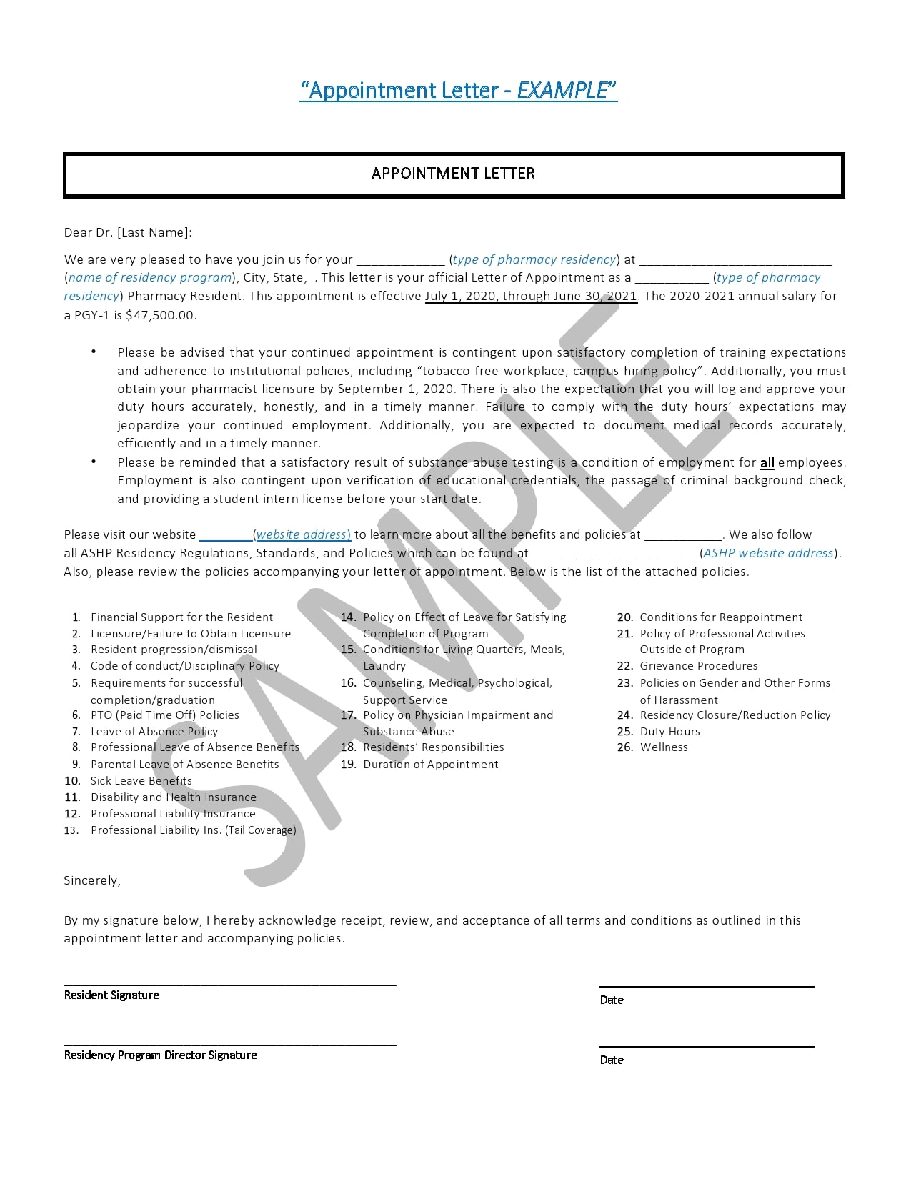 appointment letter 28