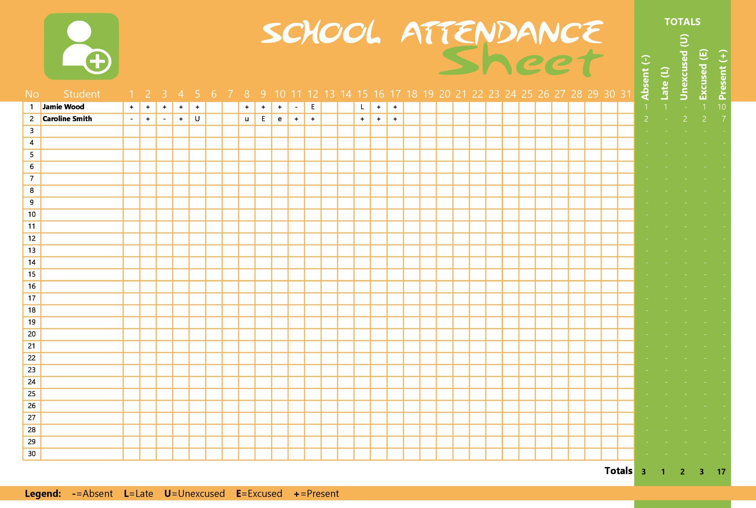 attendance sheet template 02