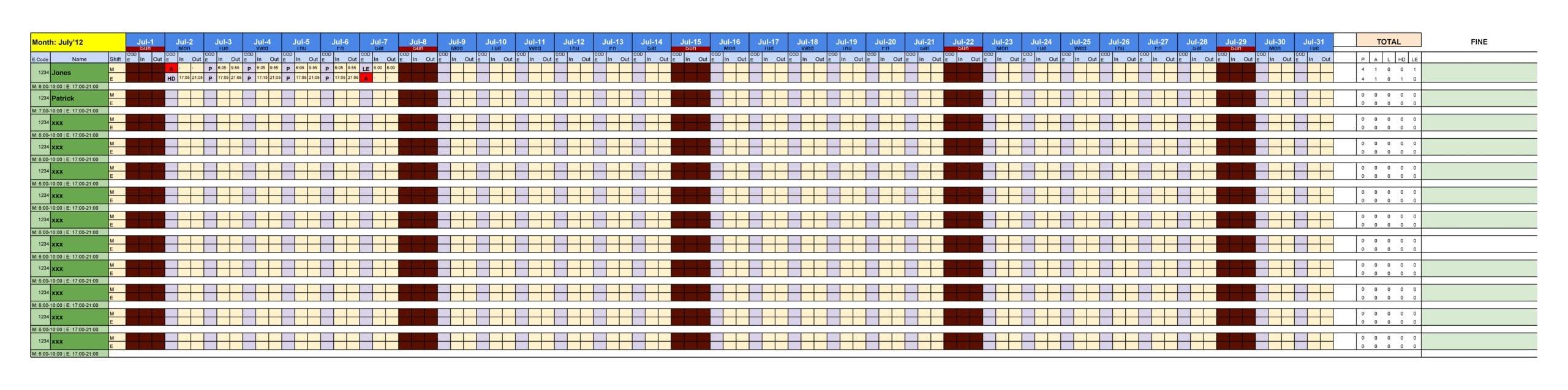 attendance sheet template 12