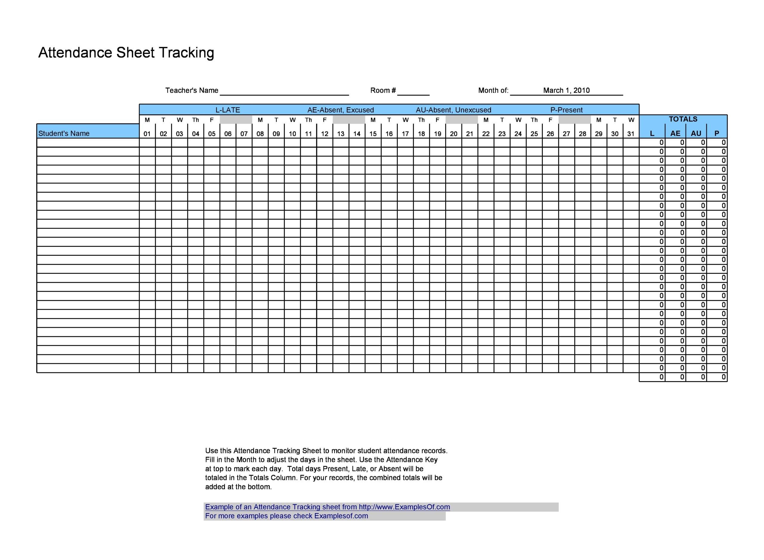 attendance sheet template 13