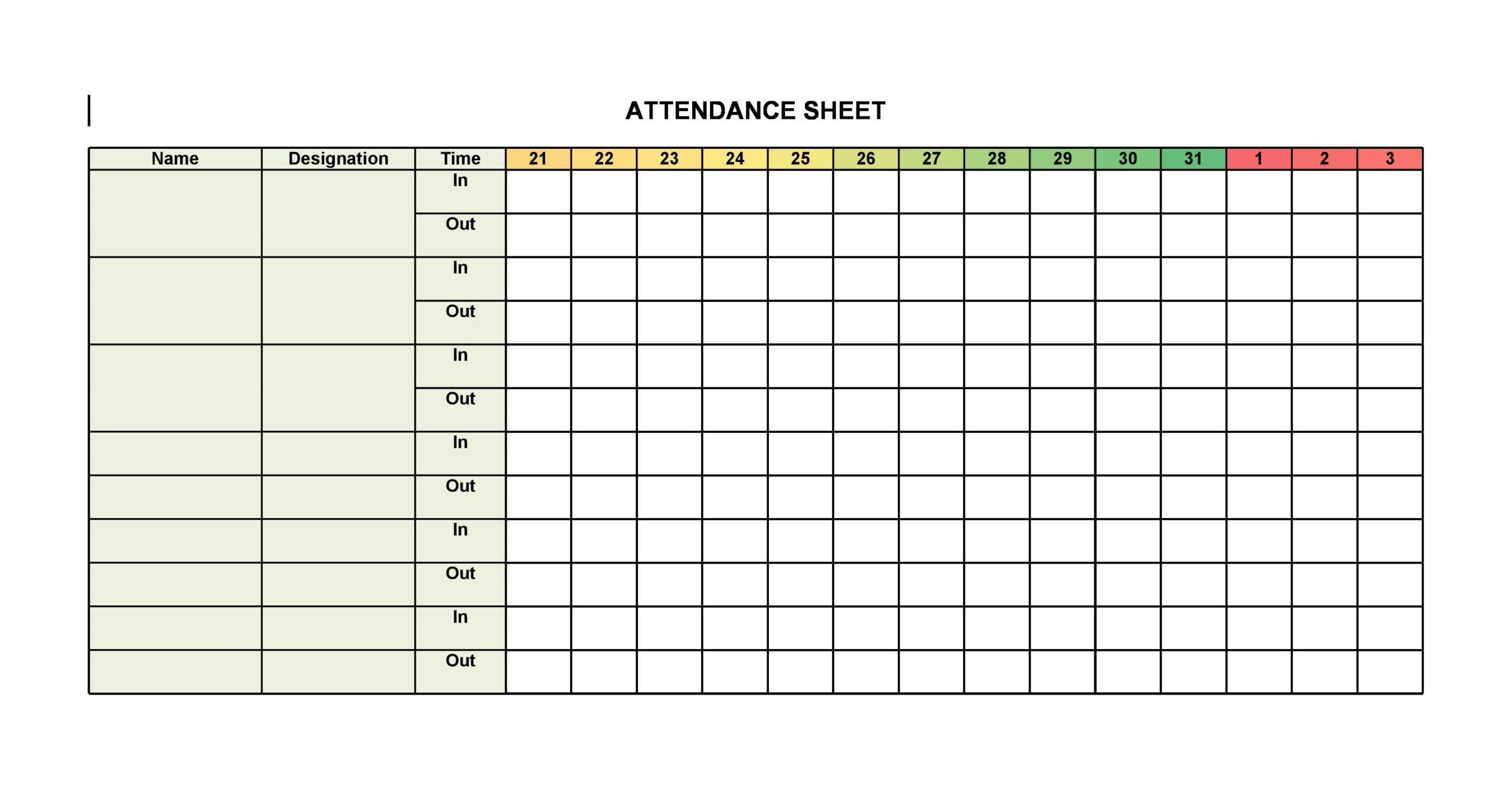 attendance sheet template 14