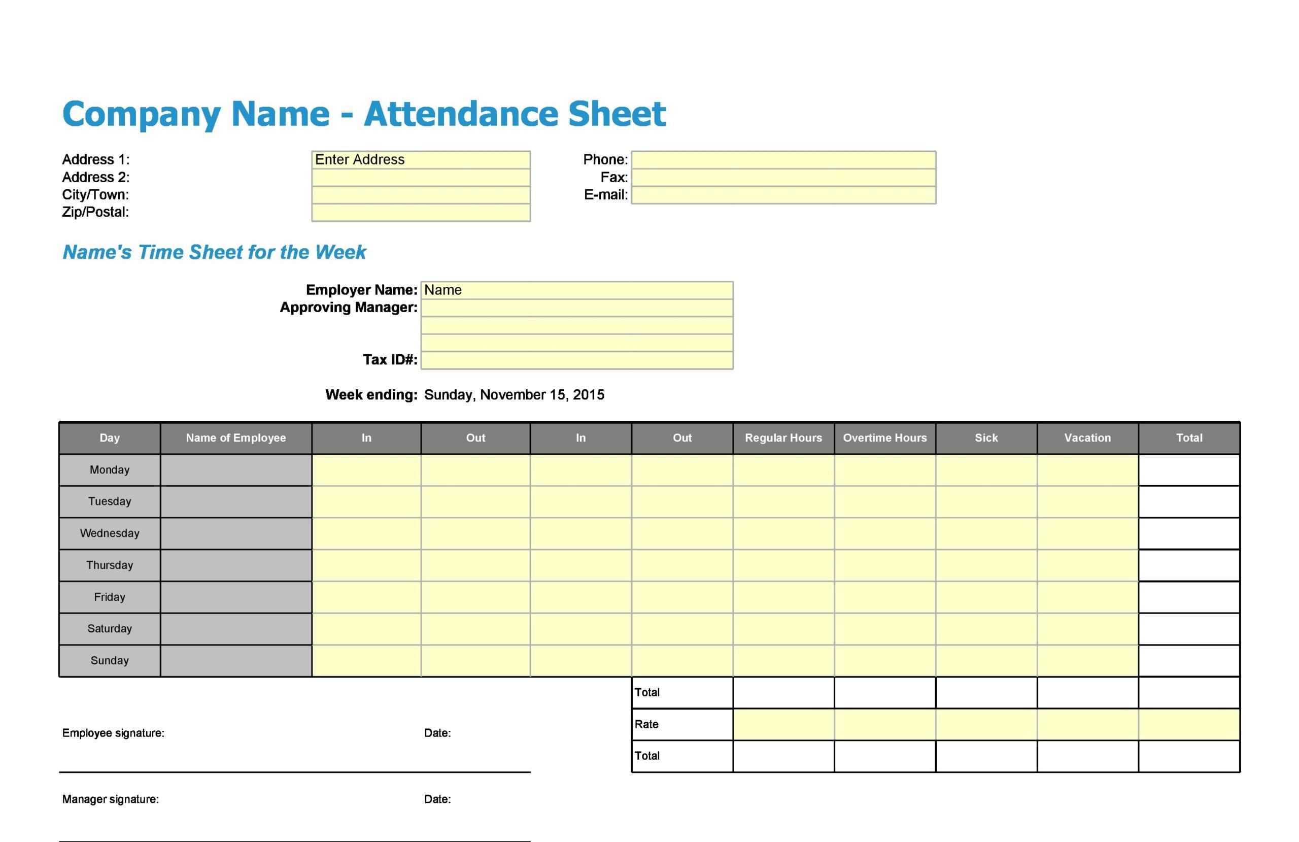 attendance sheet template 17