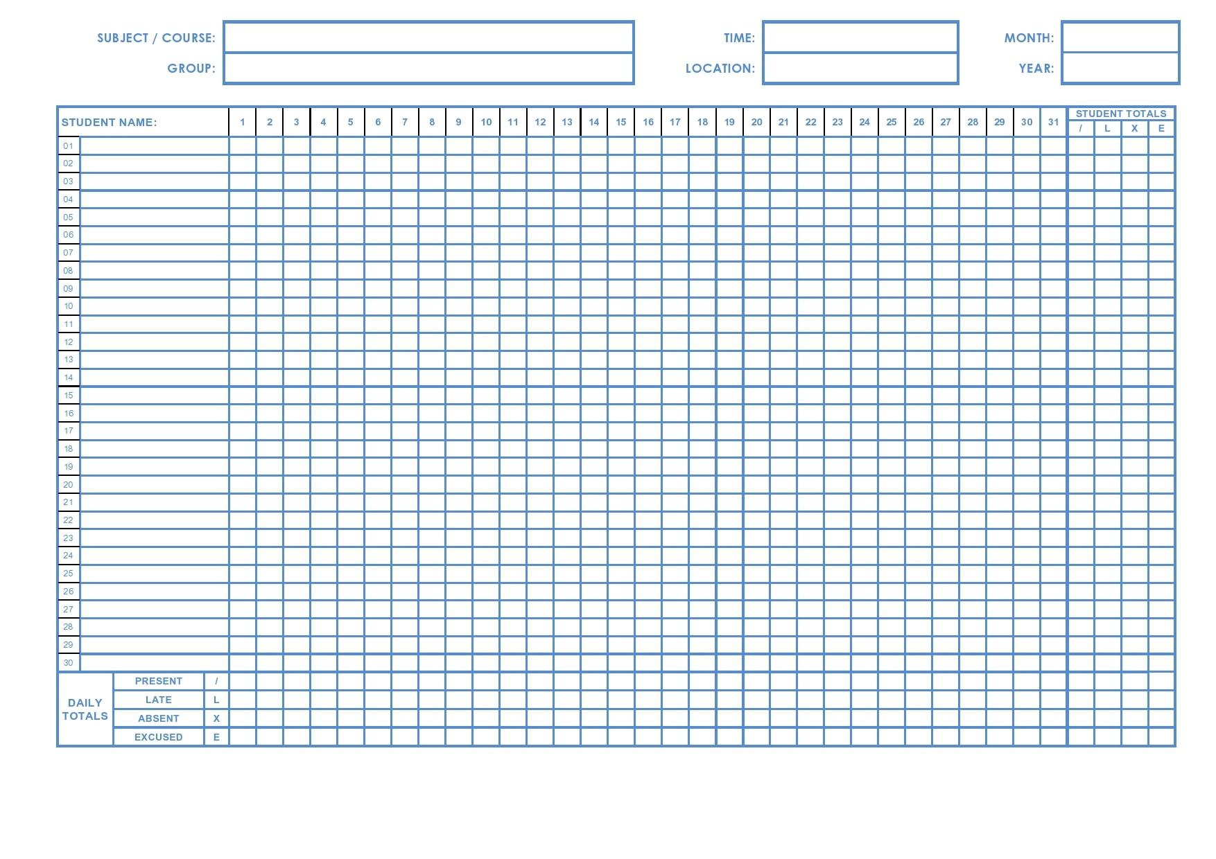 attendance sheet template 20