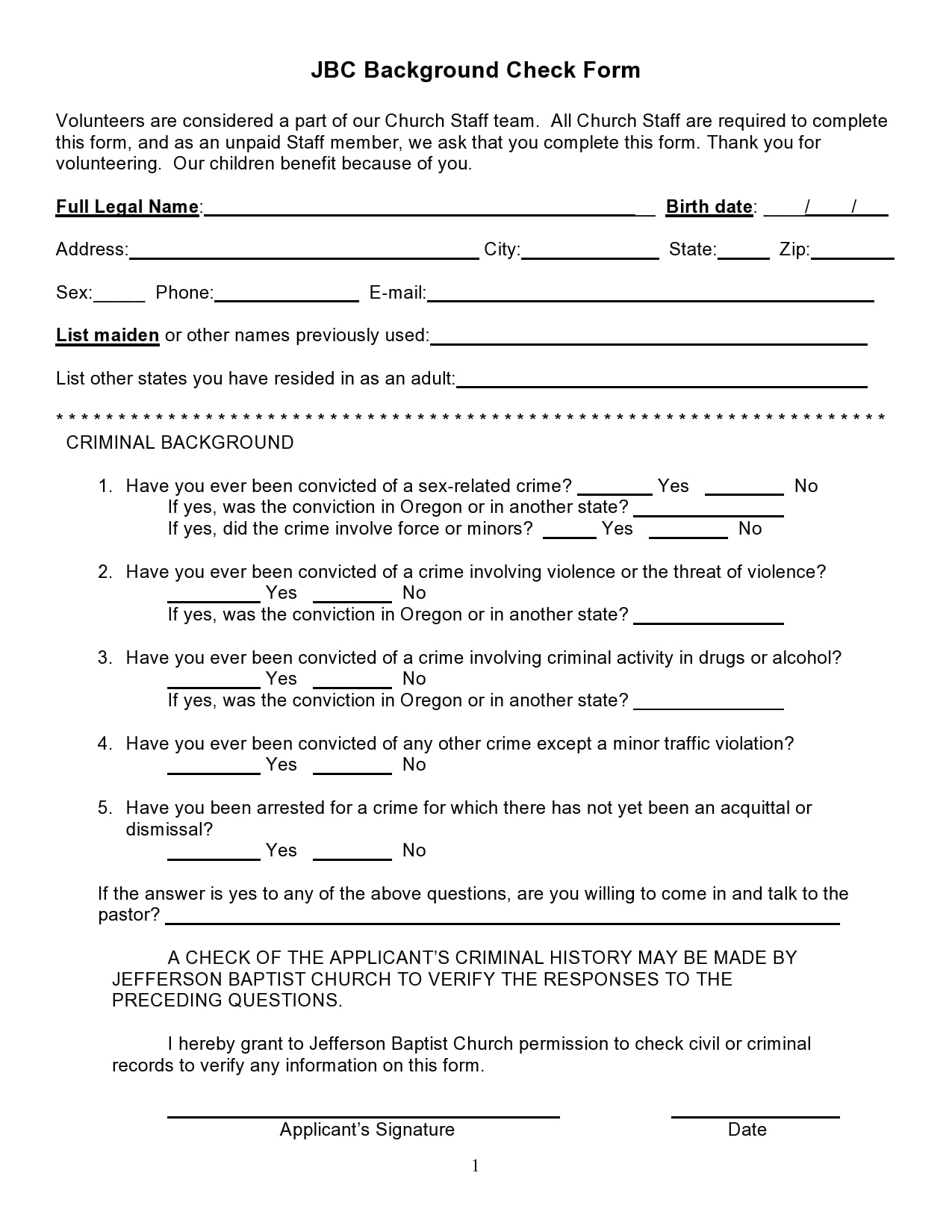 background check form 19