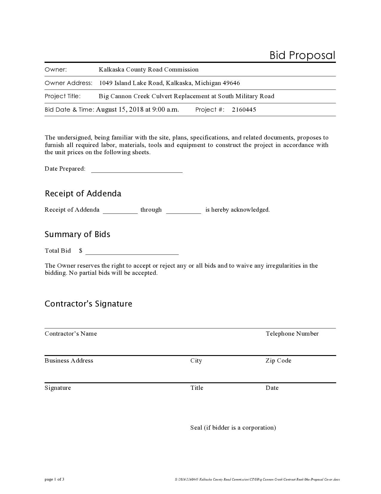 bid proposal 25