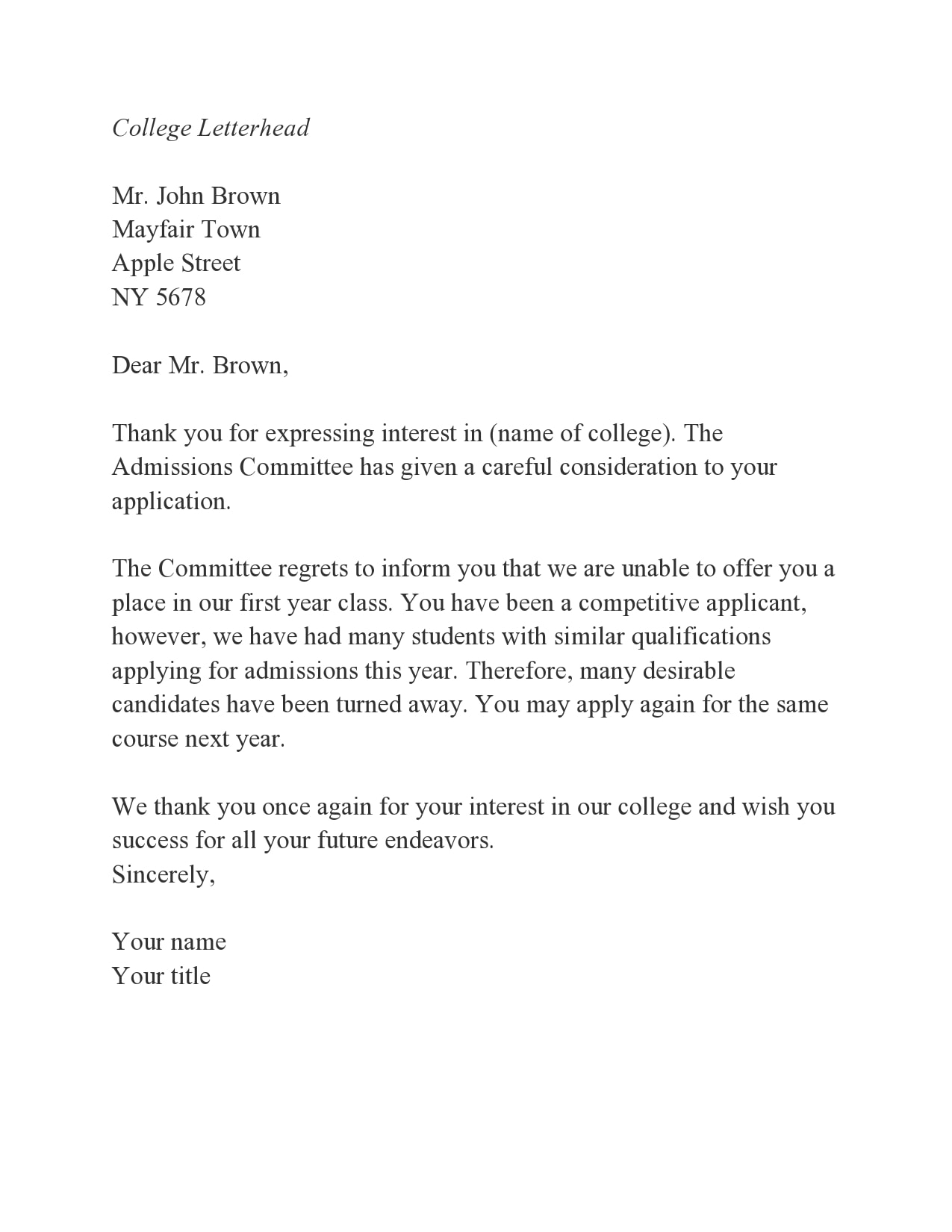 college rejection letter 28