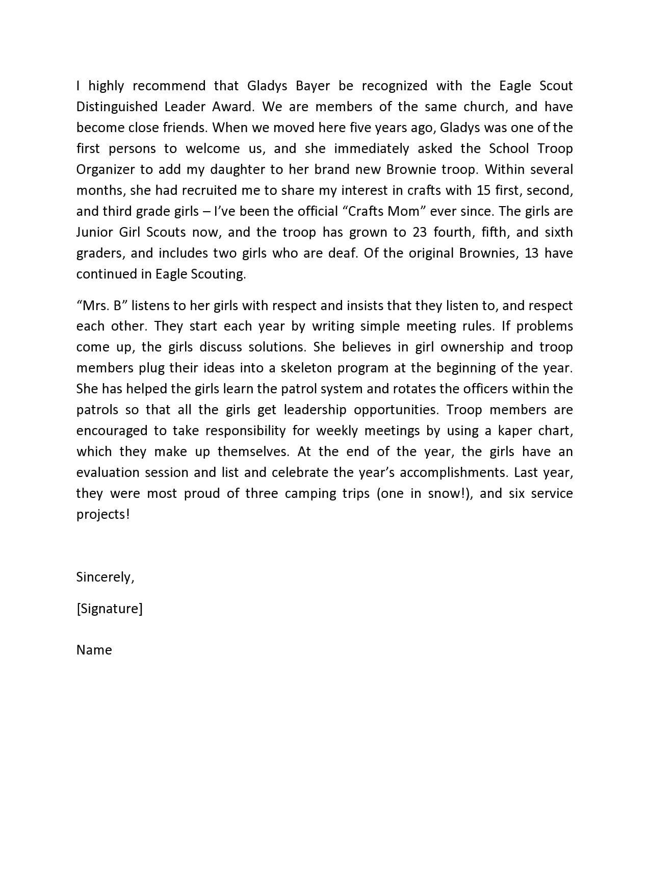eagle scout letter of recommendation 14