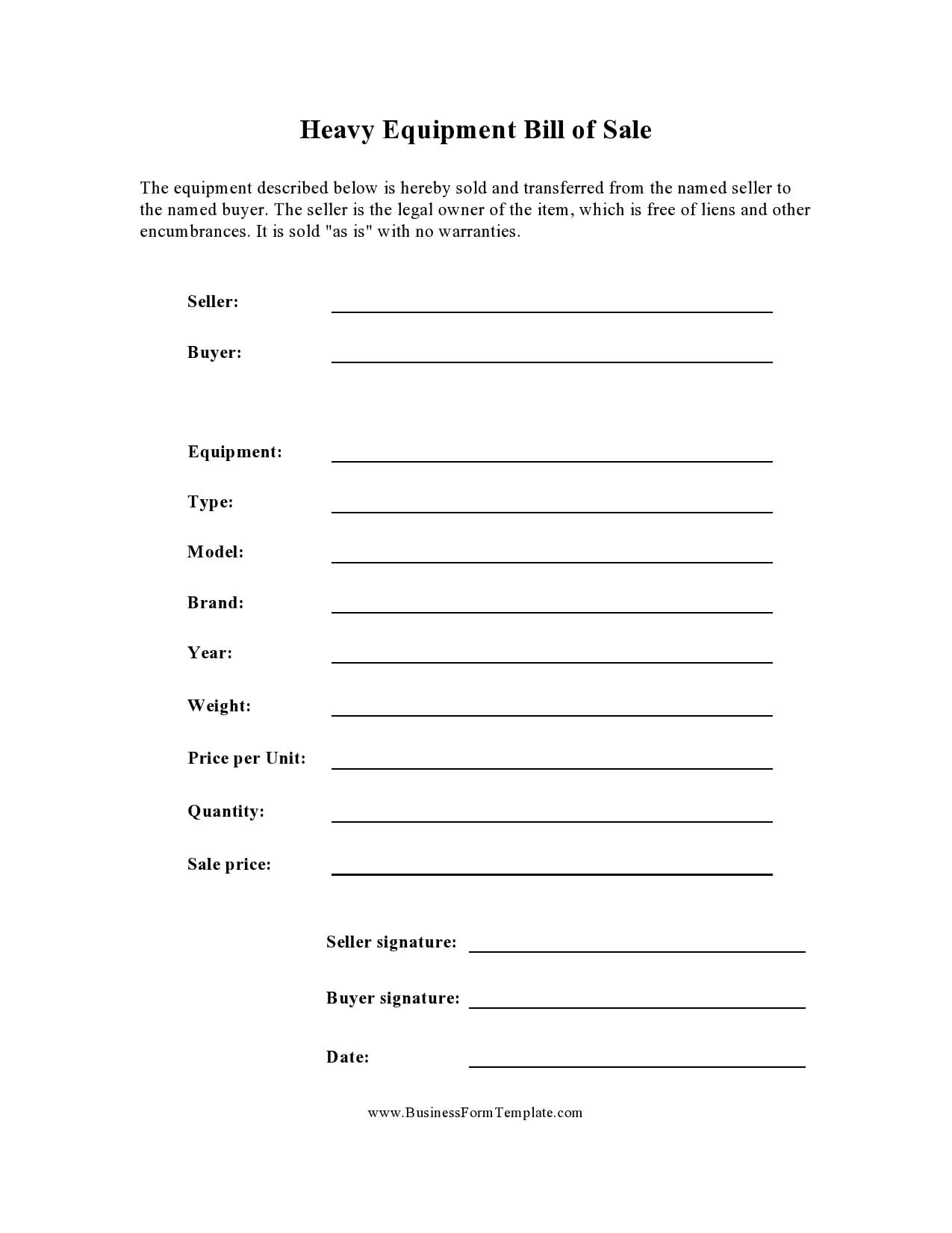 30 Free Equipment Bill of Sale Templates Word   PDF ...