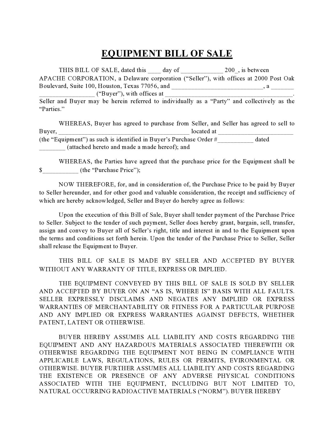 equipment bill of sale 10