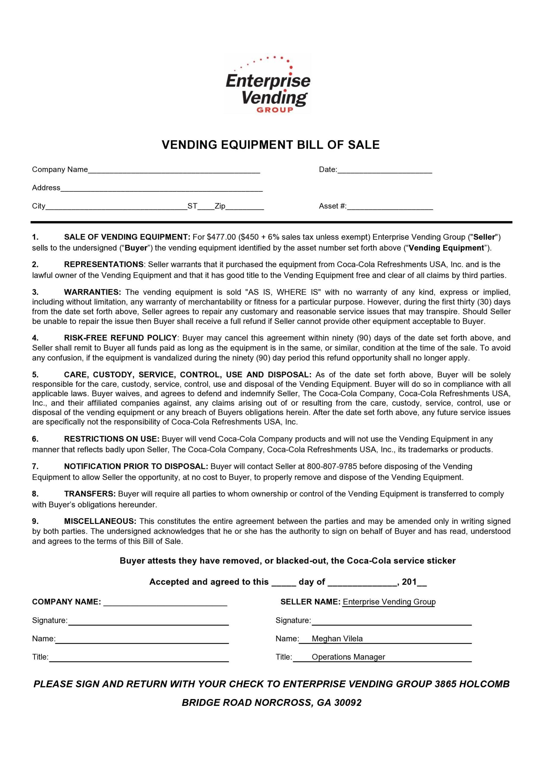 equipment bill of sale 11