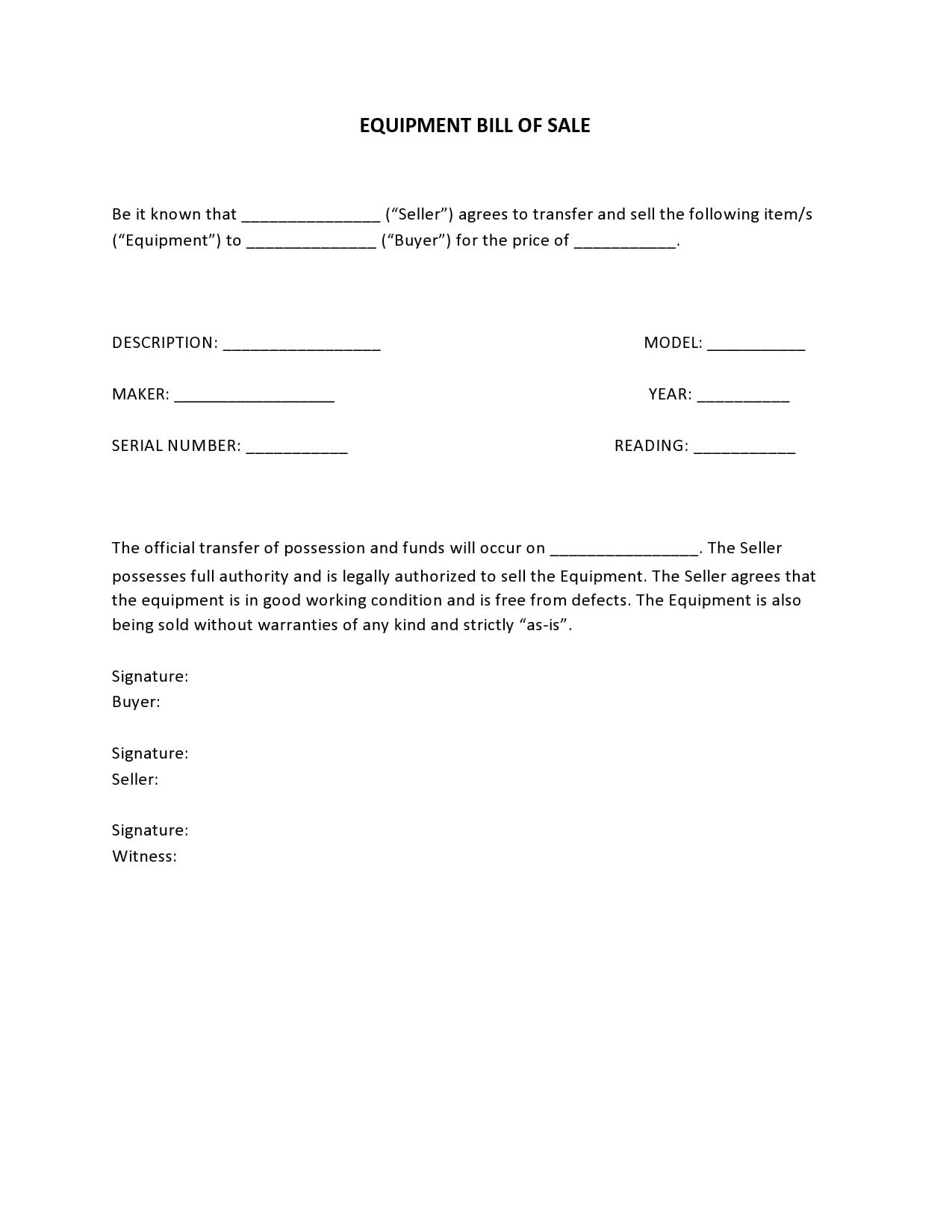 equipment bill of sale 17