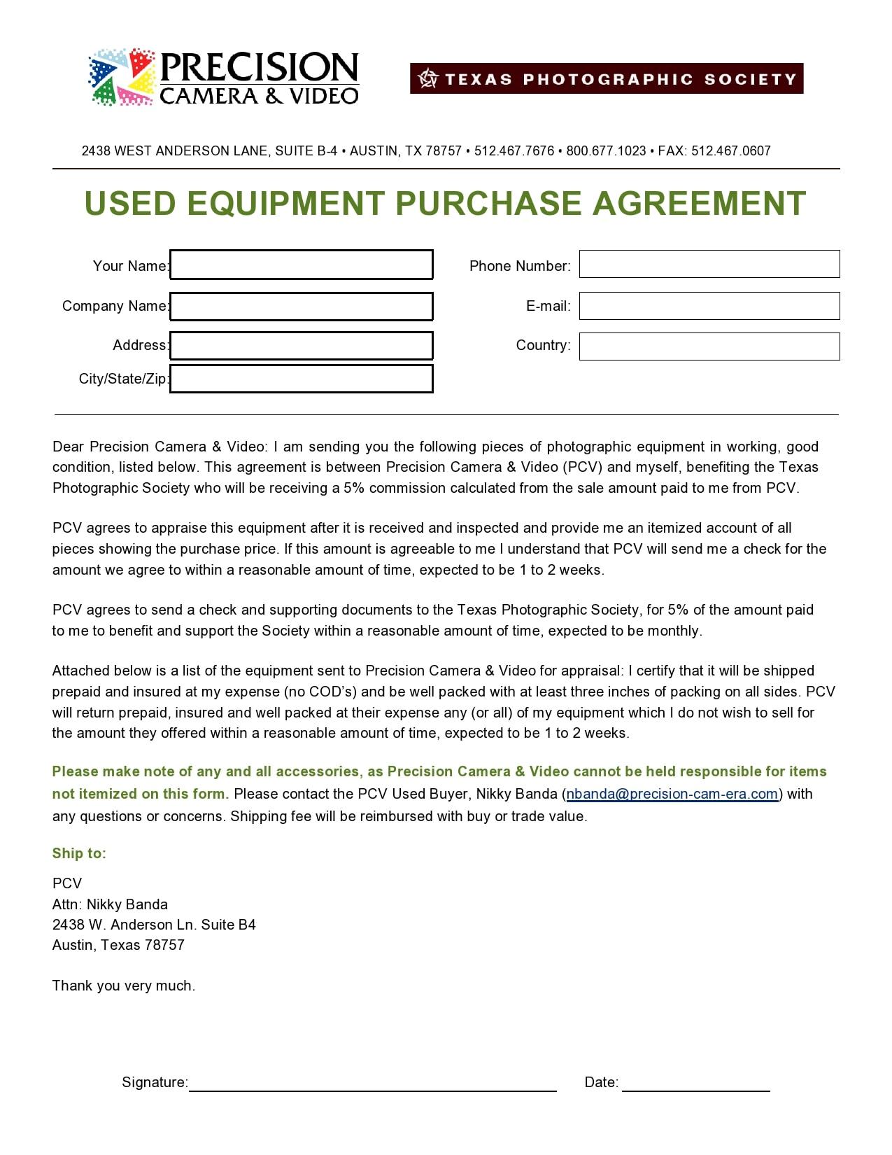 equipment bill of sale 20