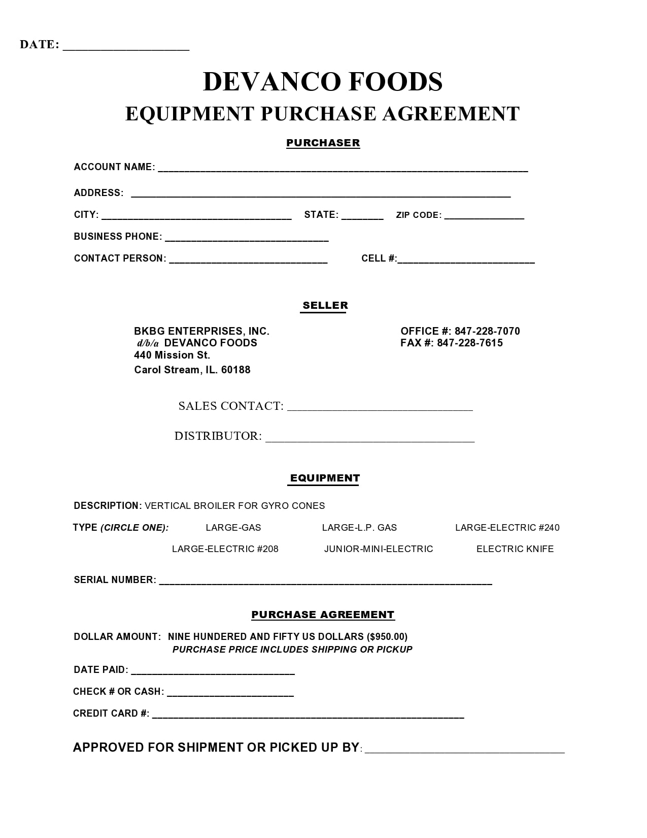 equipment bill of sale 22