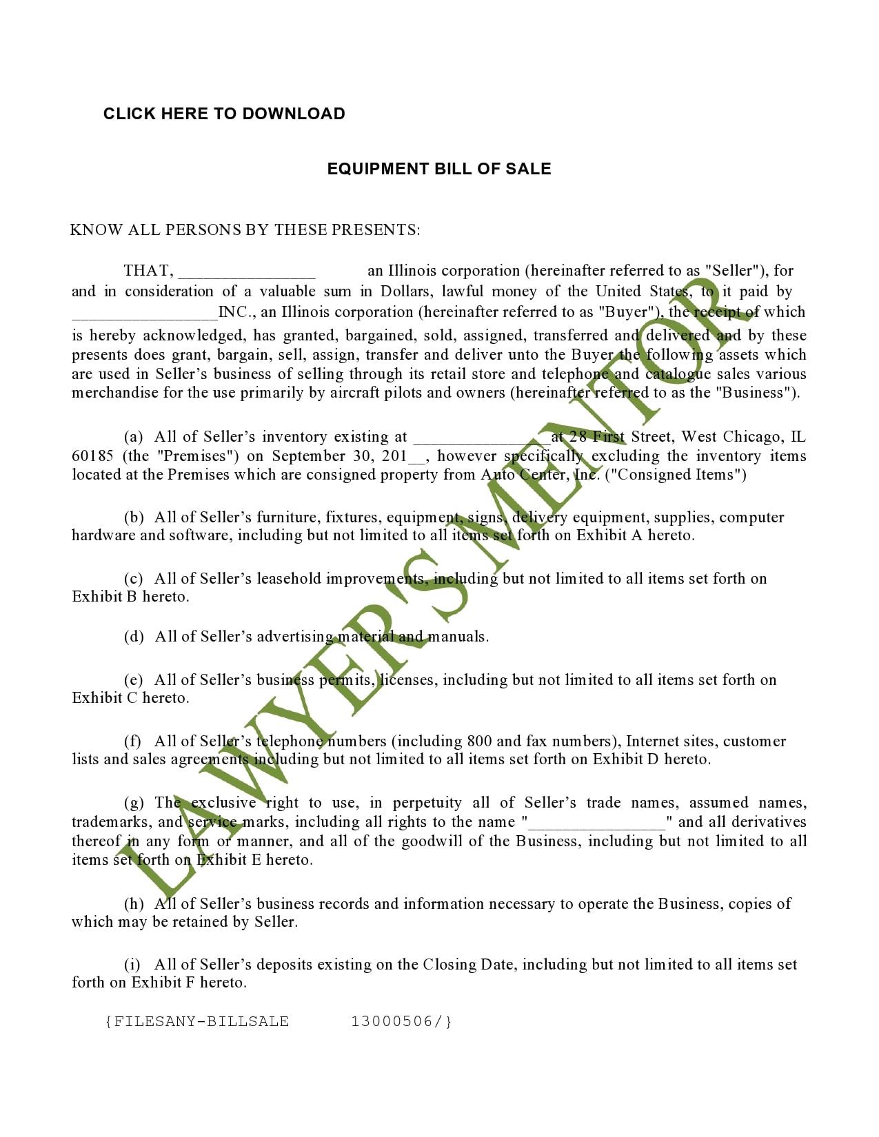 equipment bill of sale 26