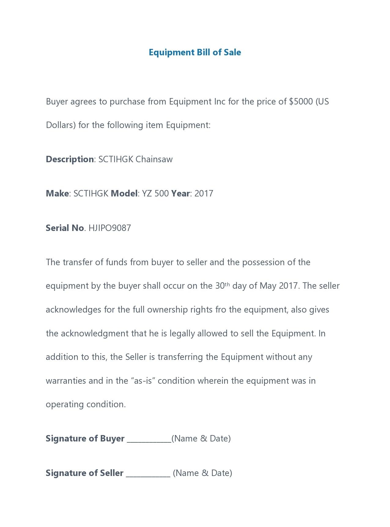 equipment bill of sale 28