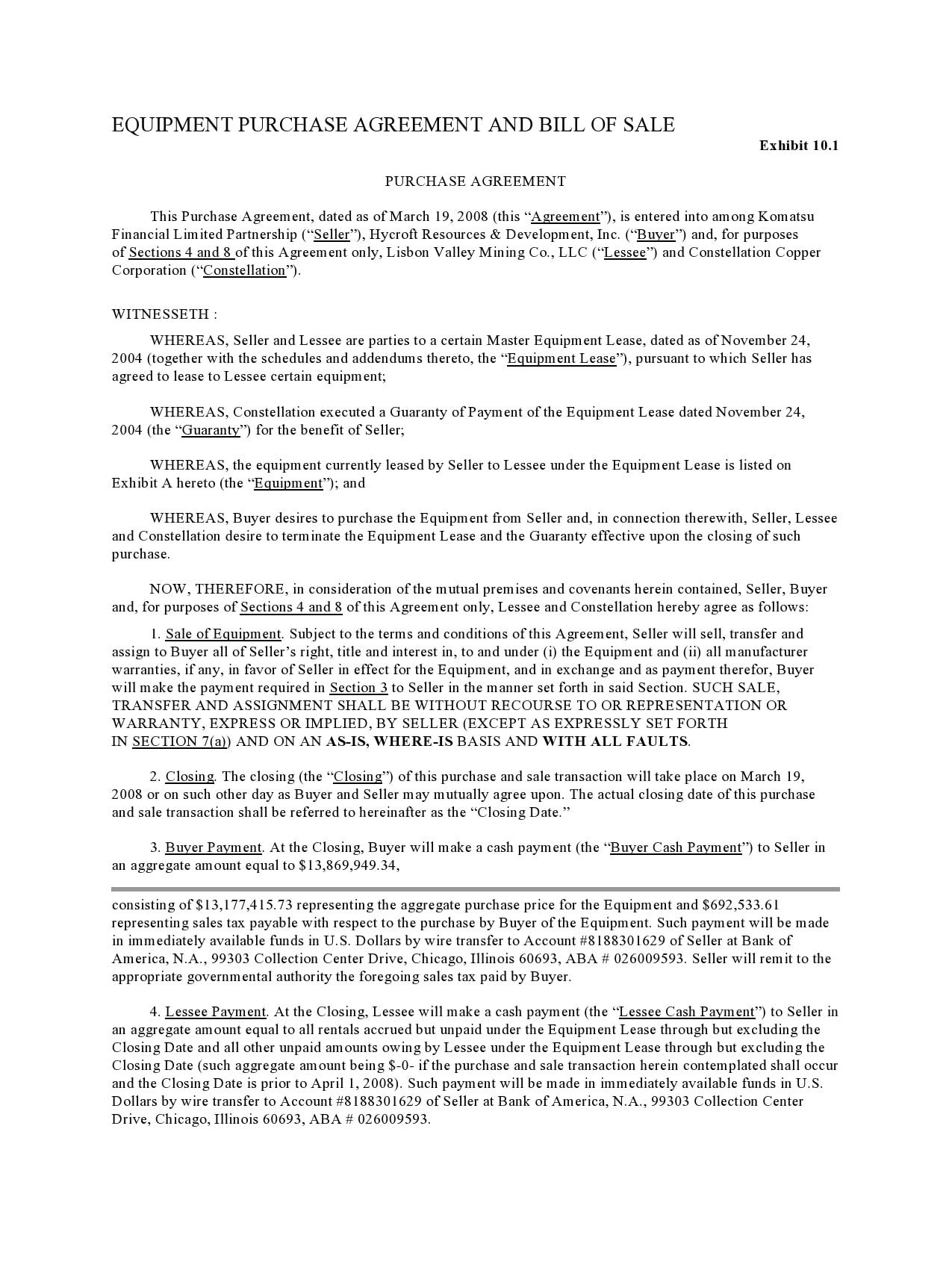 equipment bill of sale 29