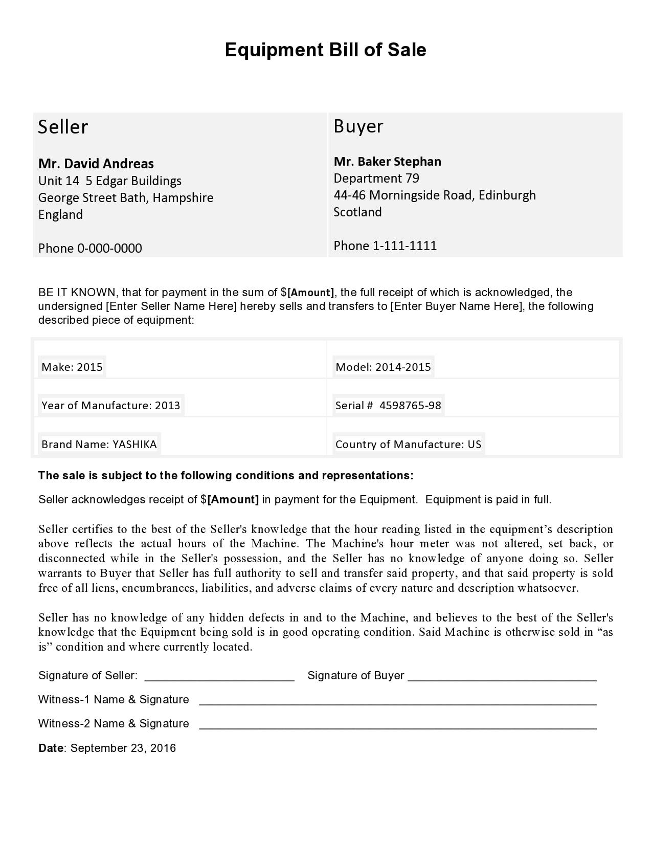 equipment bill of sale 30