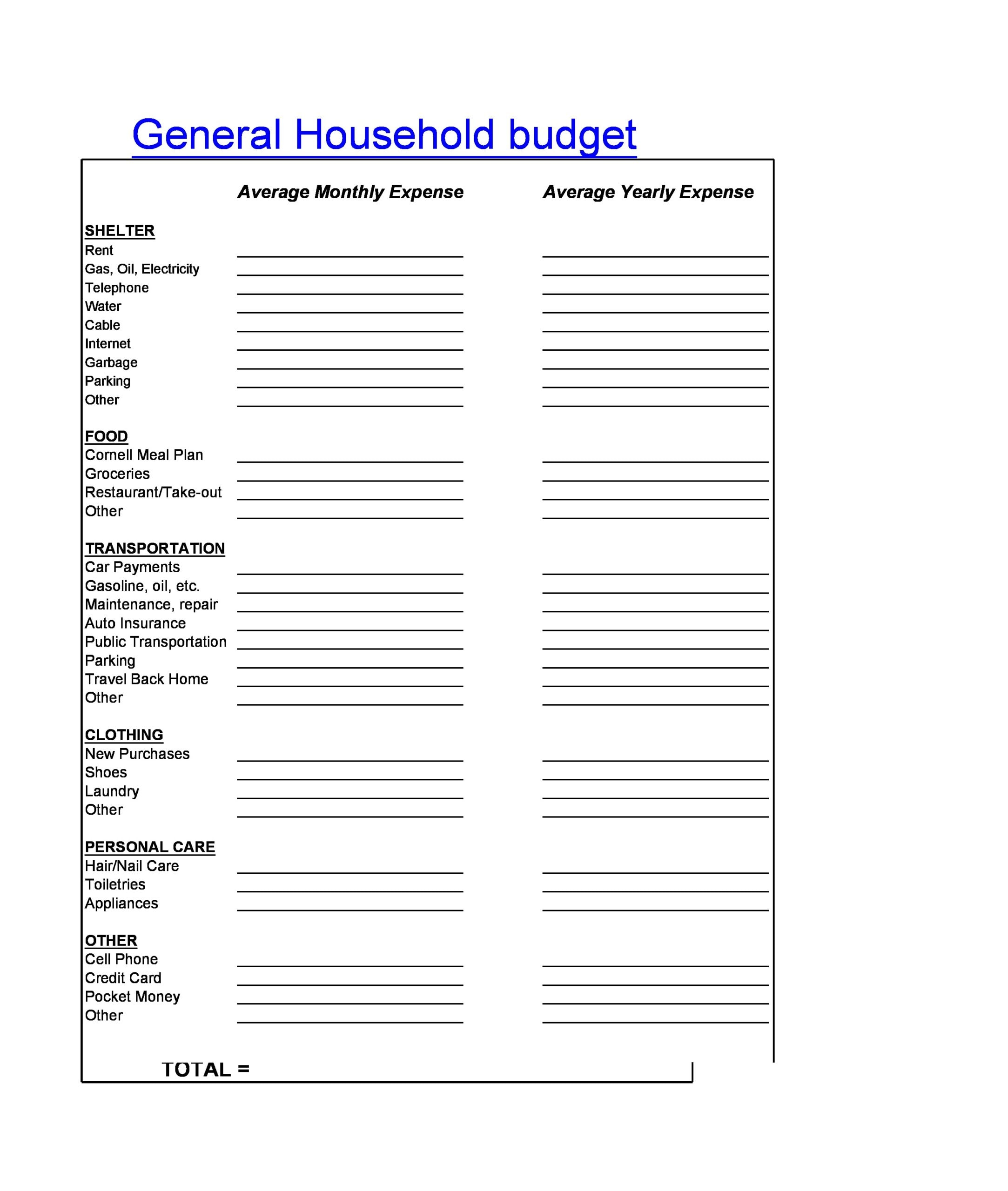 household budget template 10