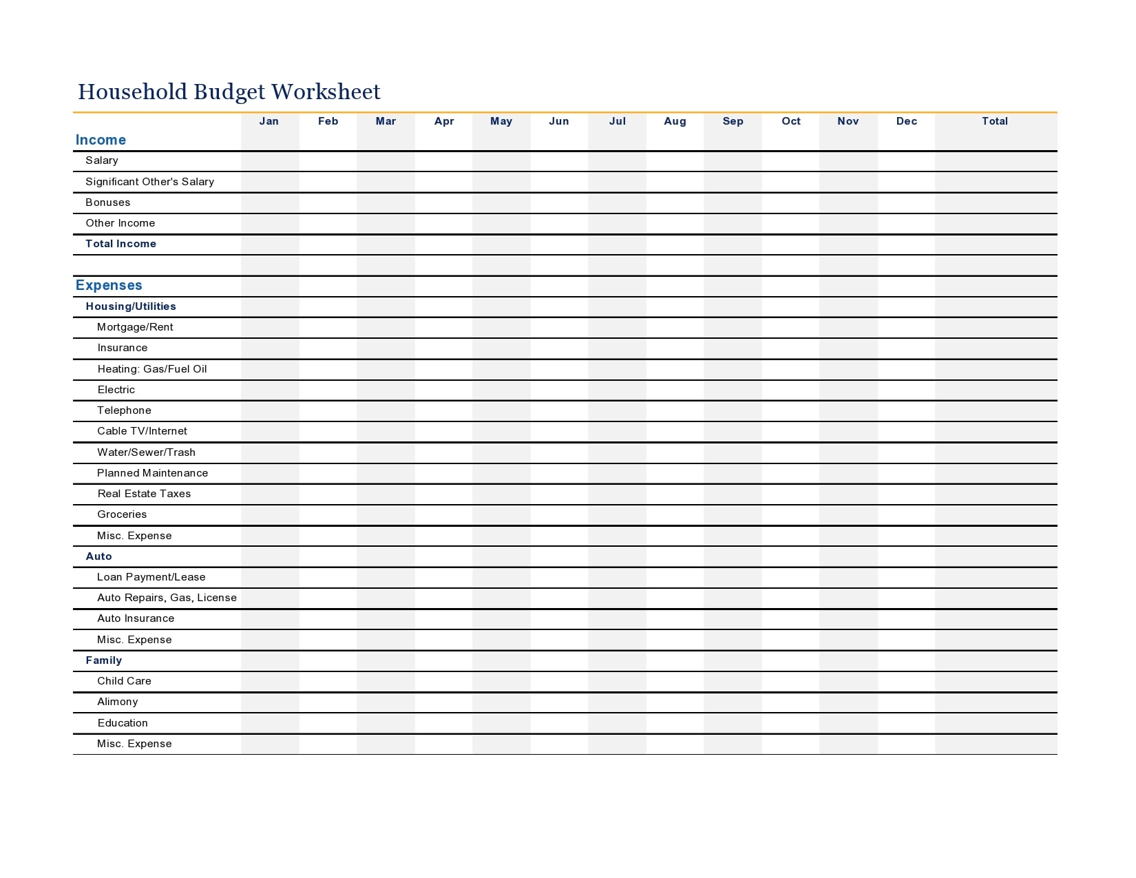 household budget template 15