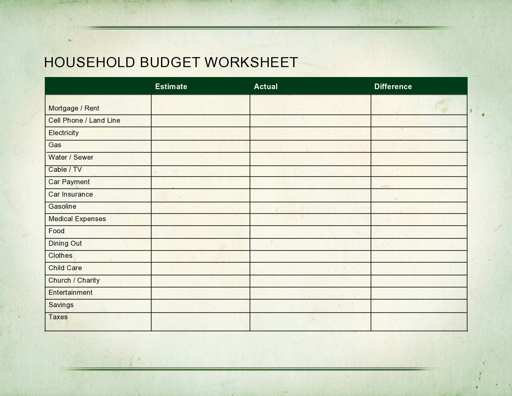 household budget template 24