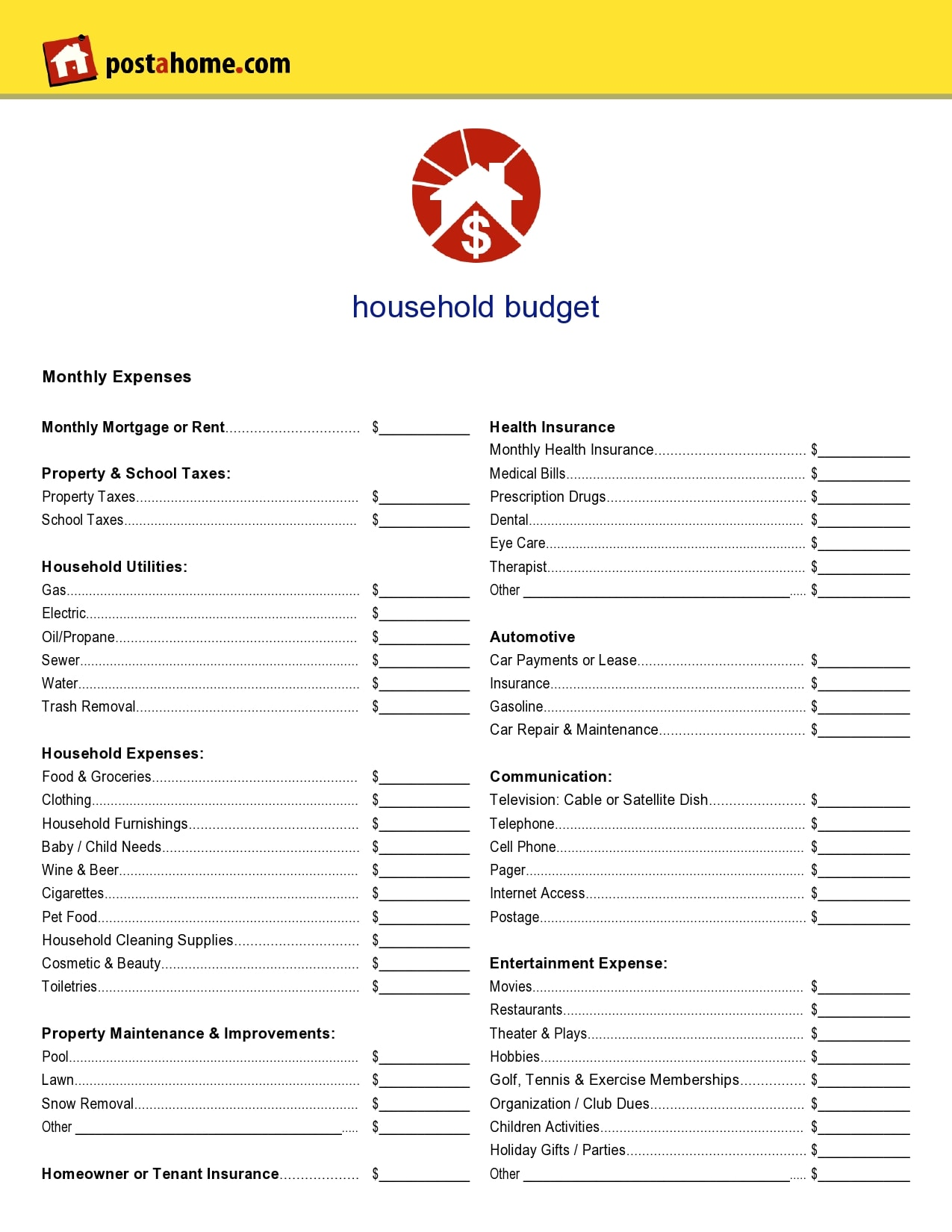 household budget template 26