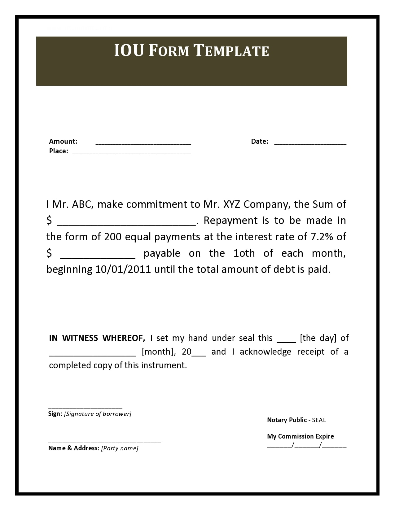 28 Free Iou Templates Forms I Owe You Templatearchive