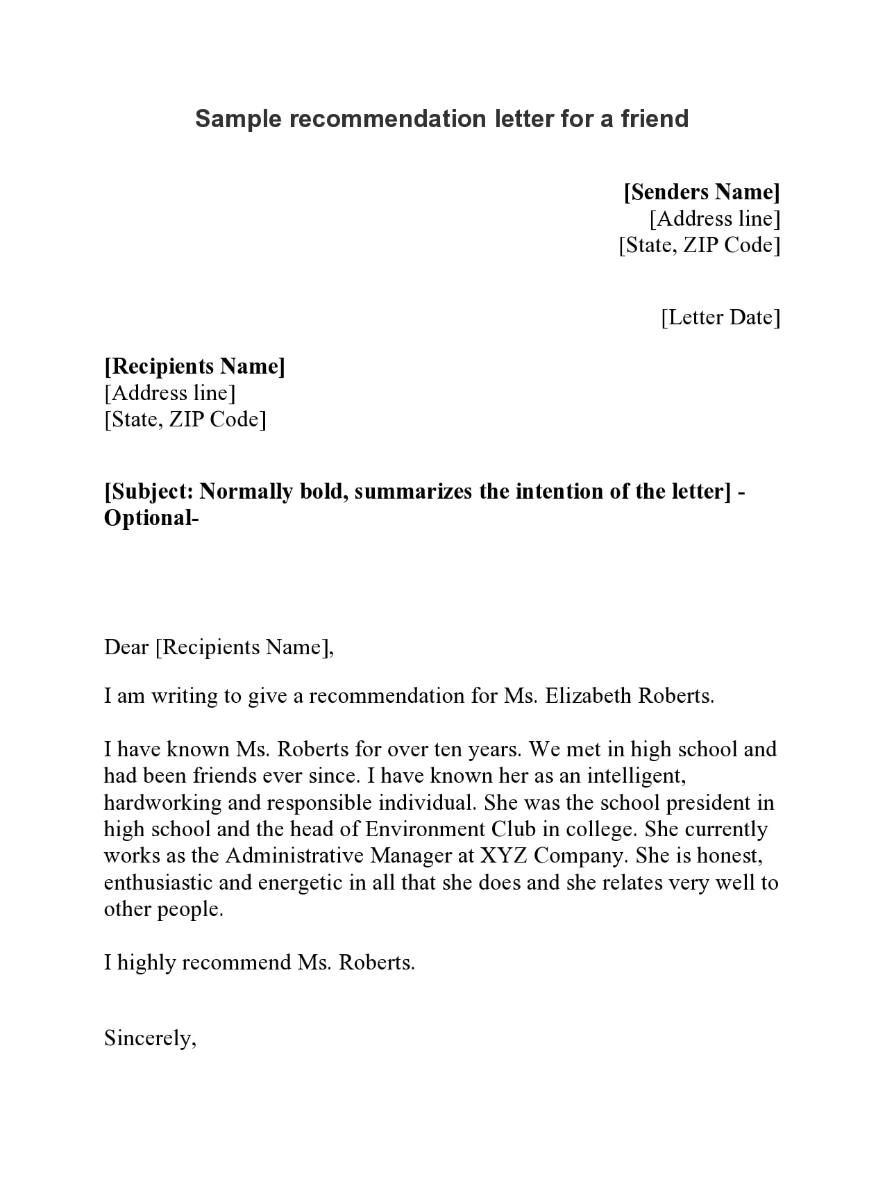 letter of recommendation for a friend 03