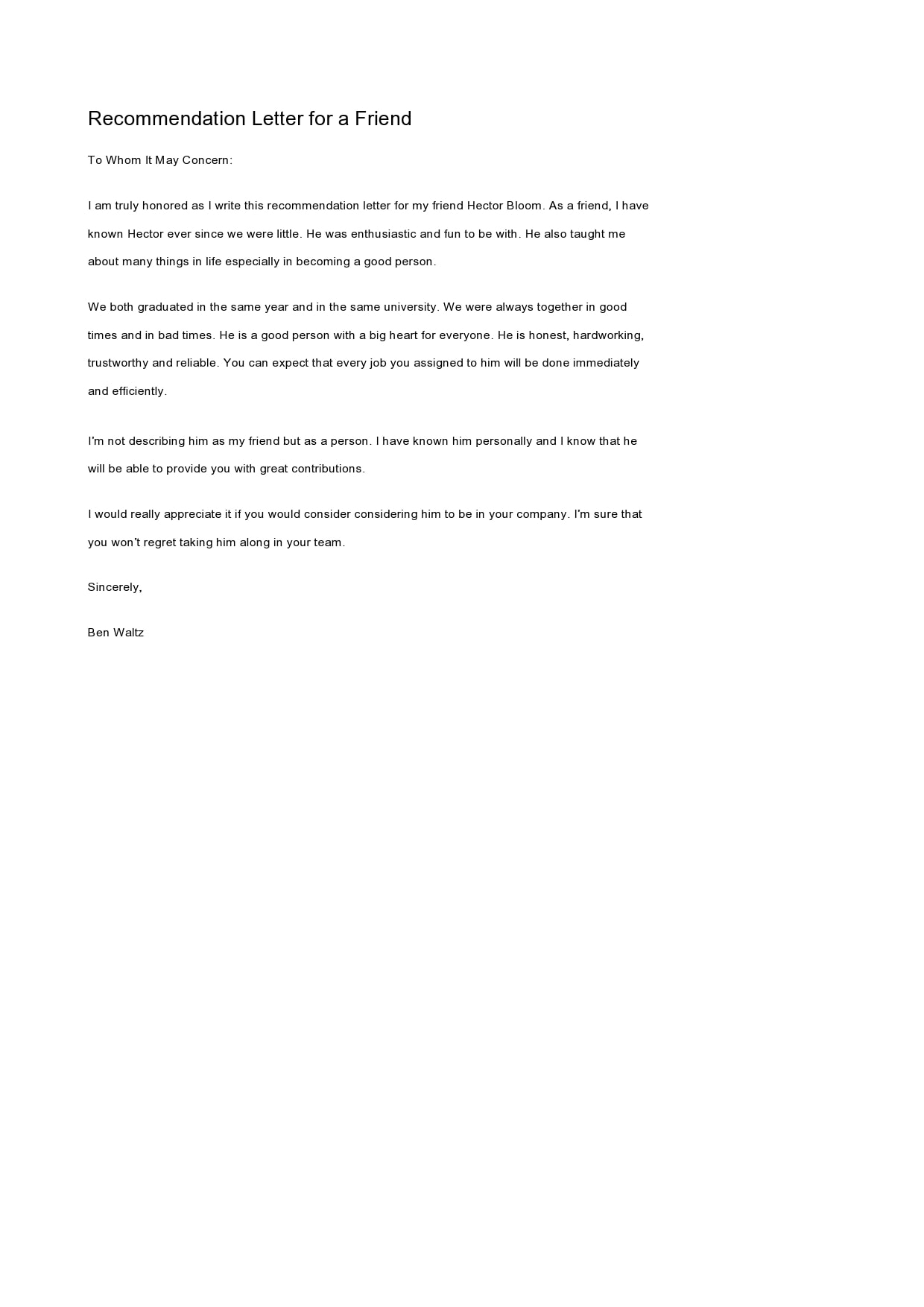 Recommendation Letter For A Friend from templatearchive.com