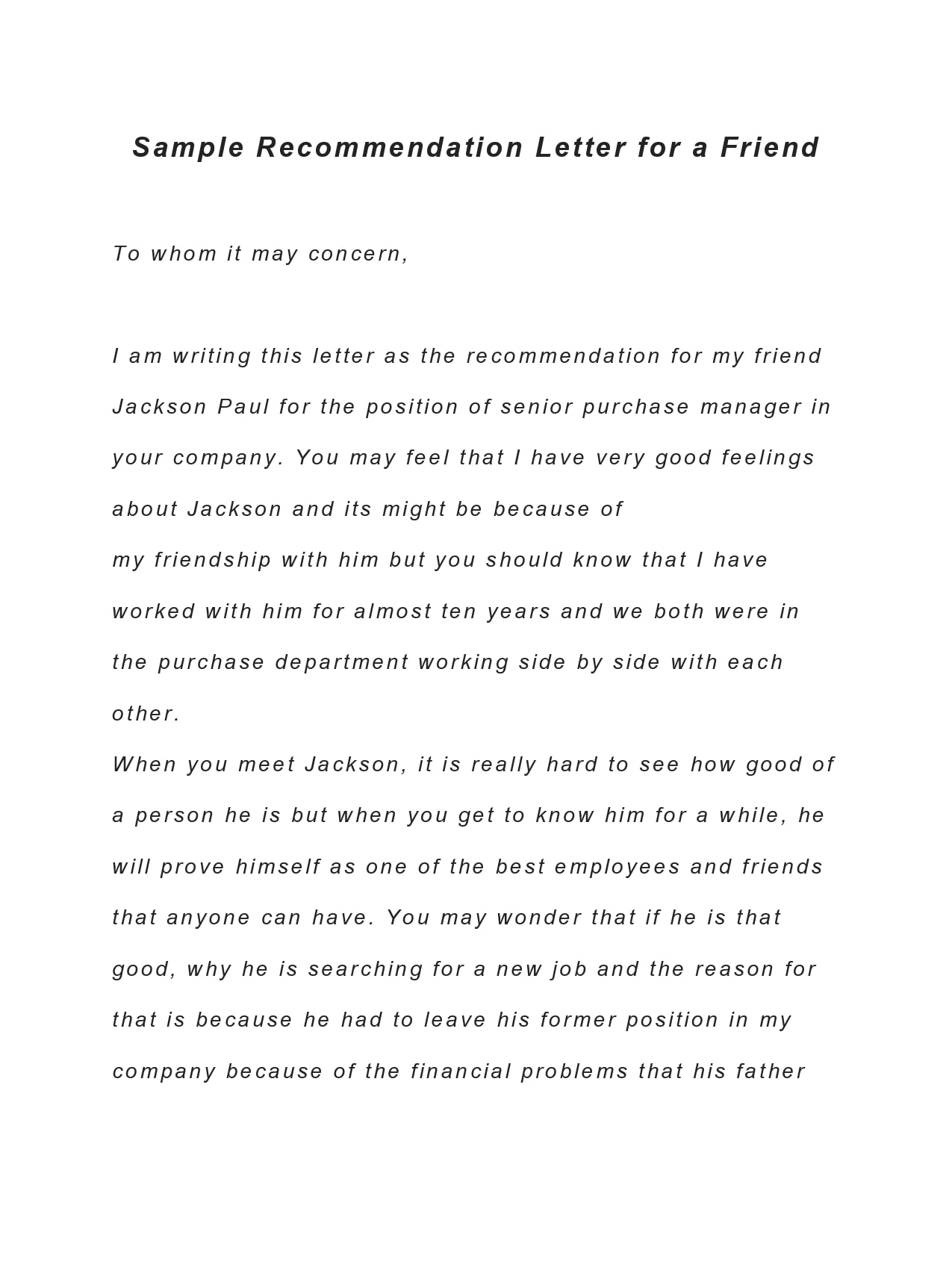 letter of recommendation for a friend 26