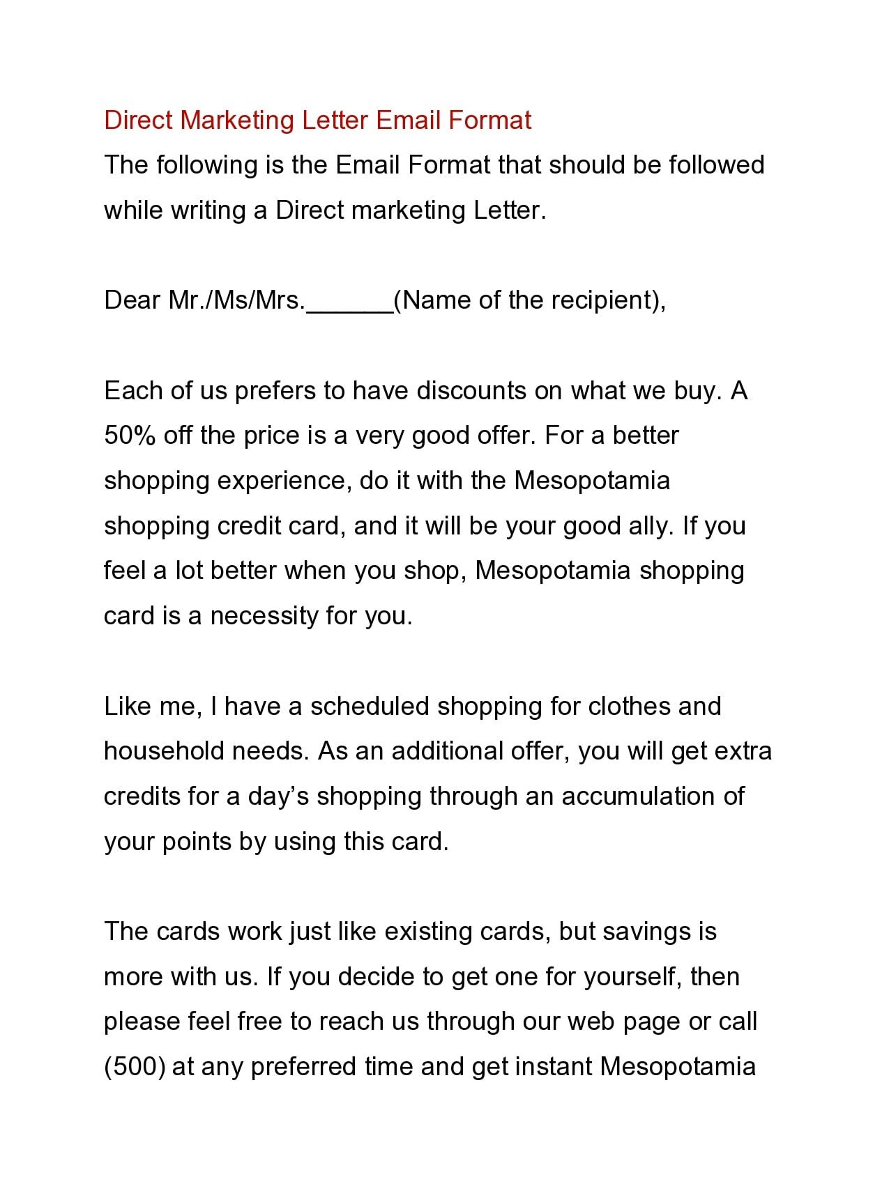 marketing letter 16