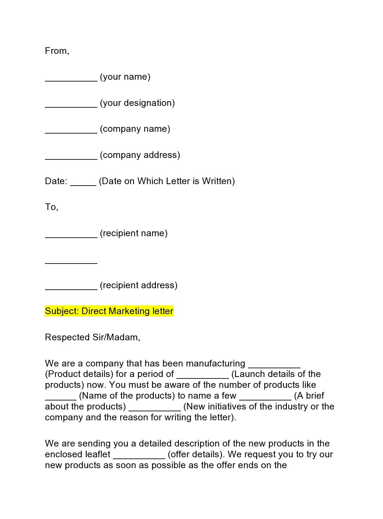 marketing letter 18